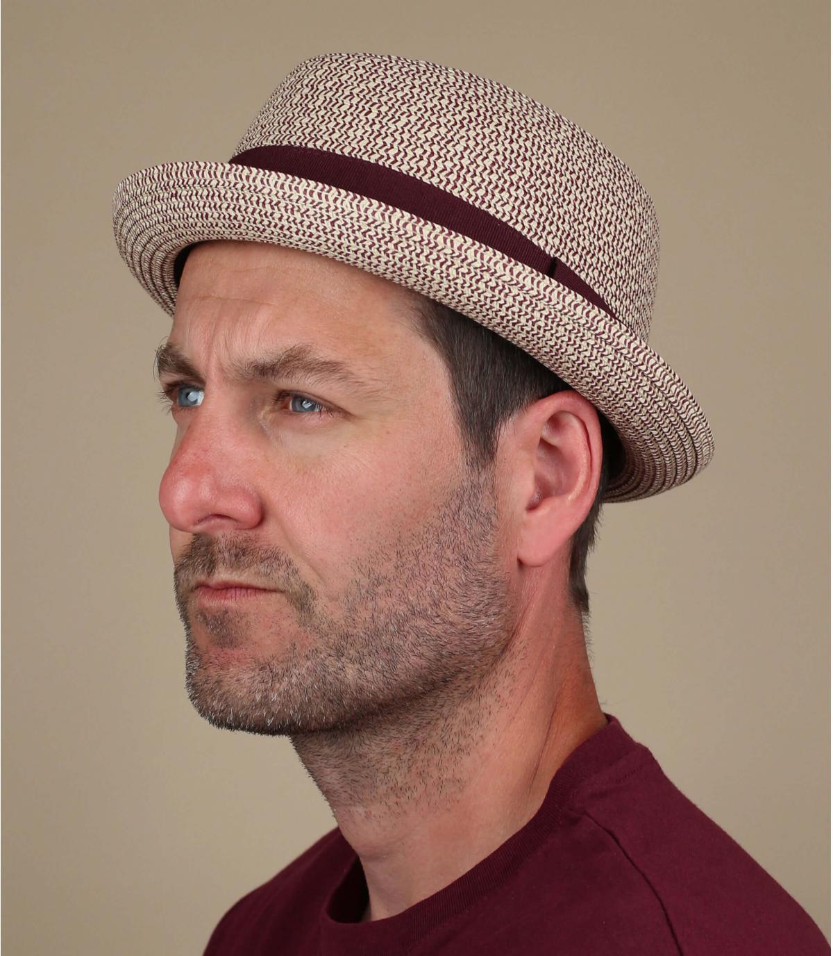 sombrero paja cinta granate