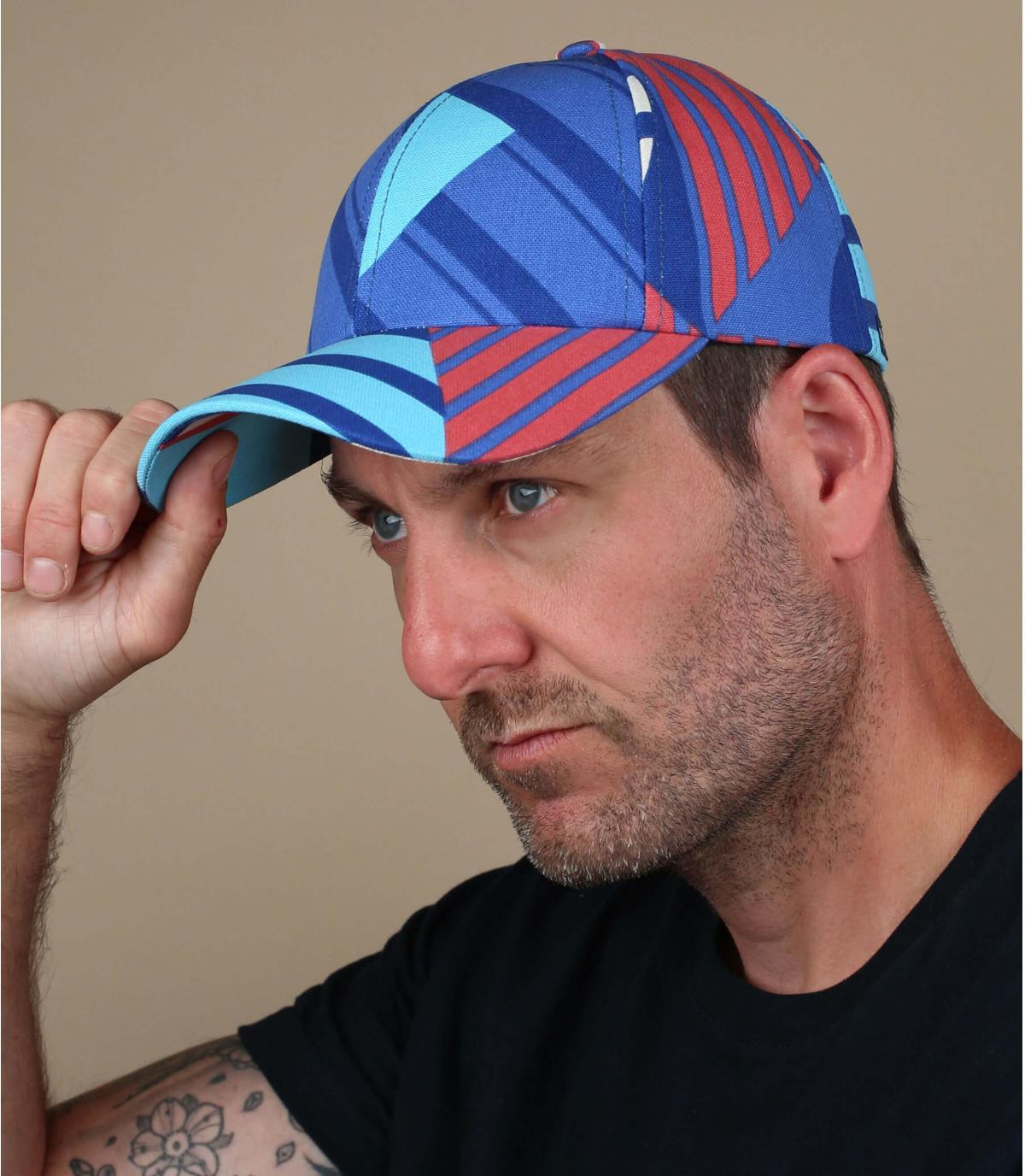 gorra rayas azul