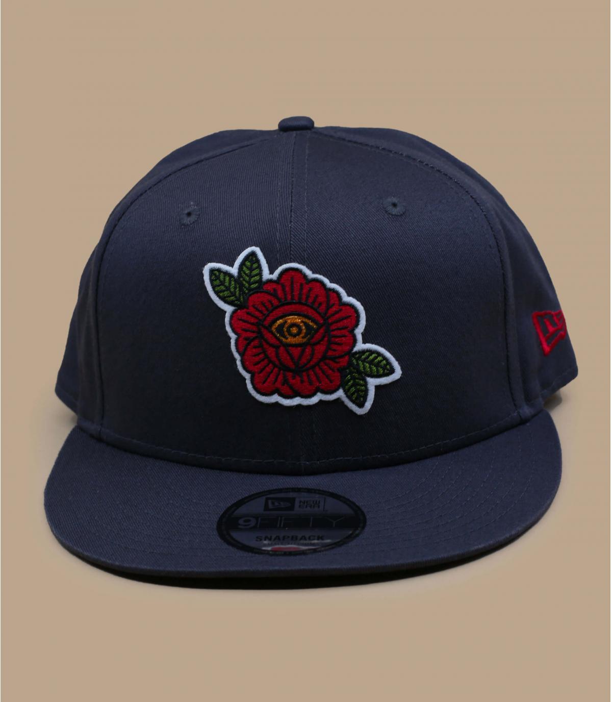 Gorra negra bordado rosa