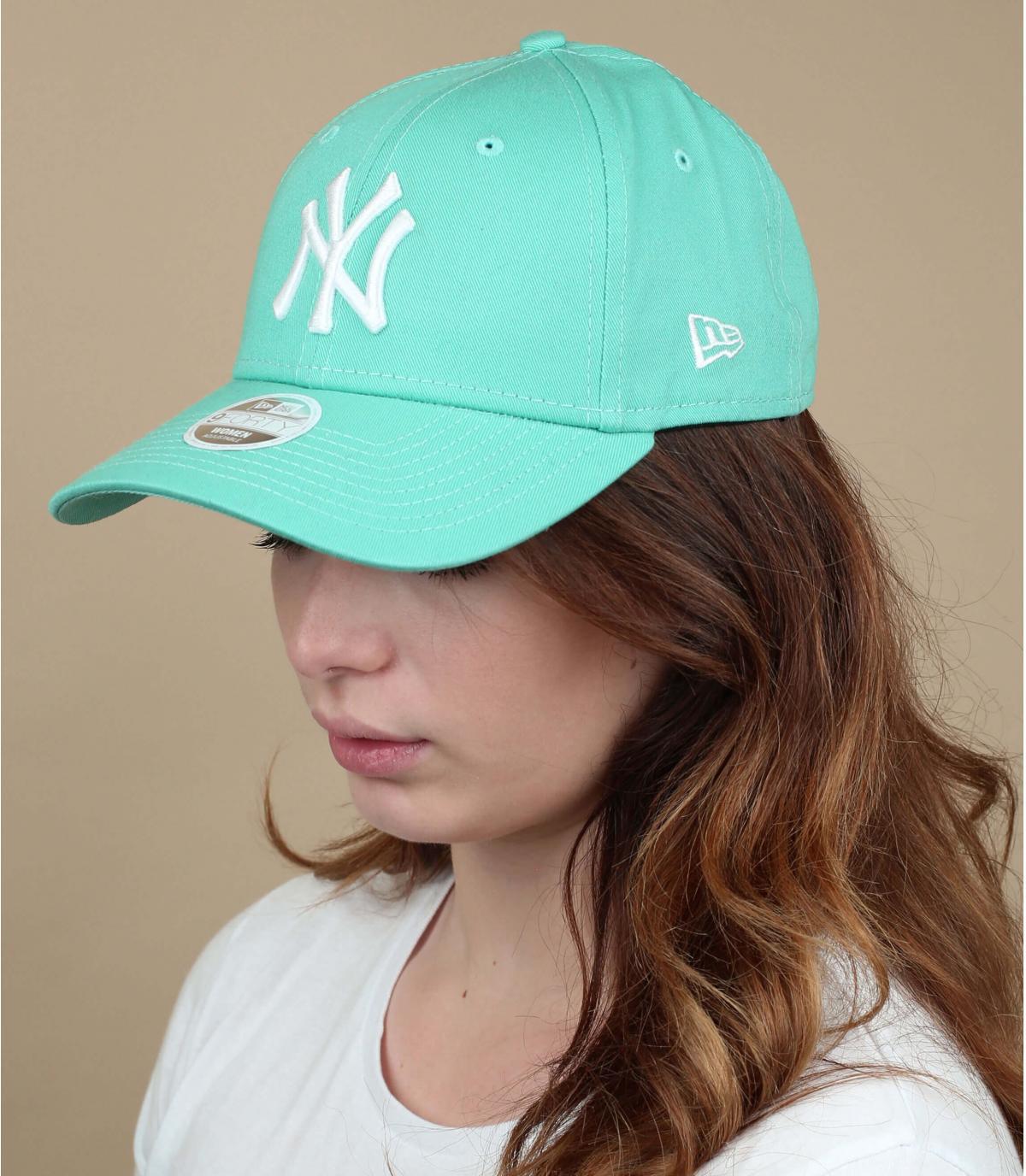 gorra NY mujer verde