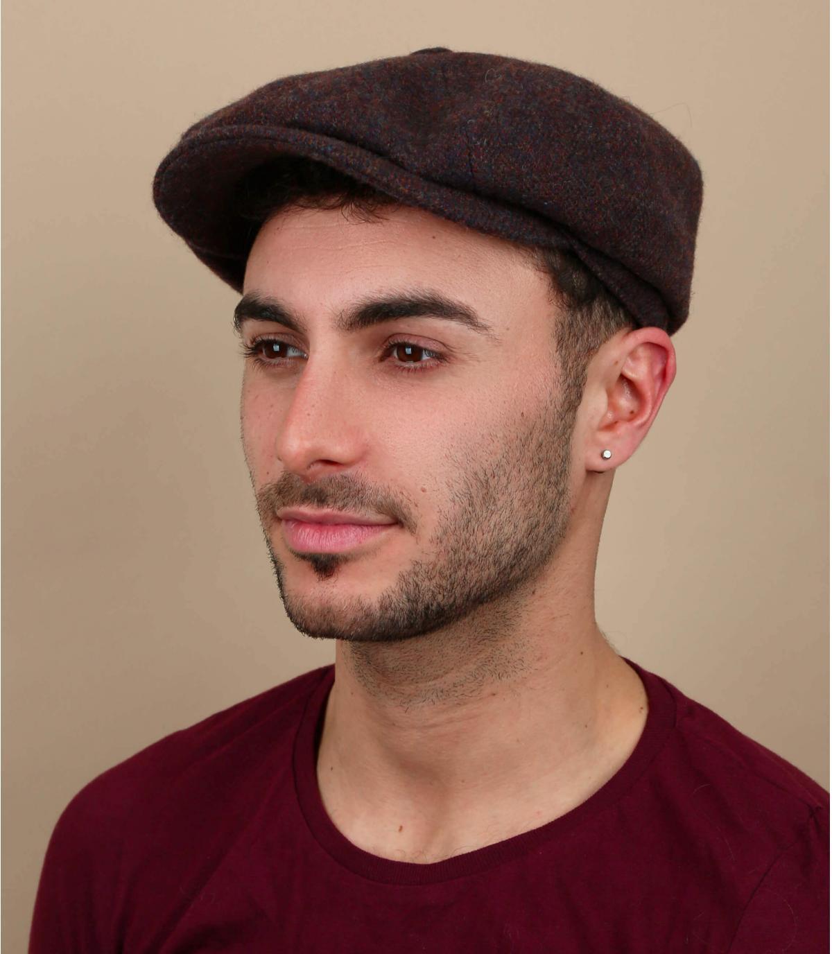 gorra marrón naranja lana