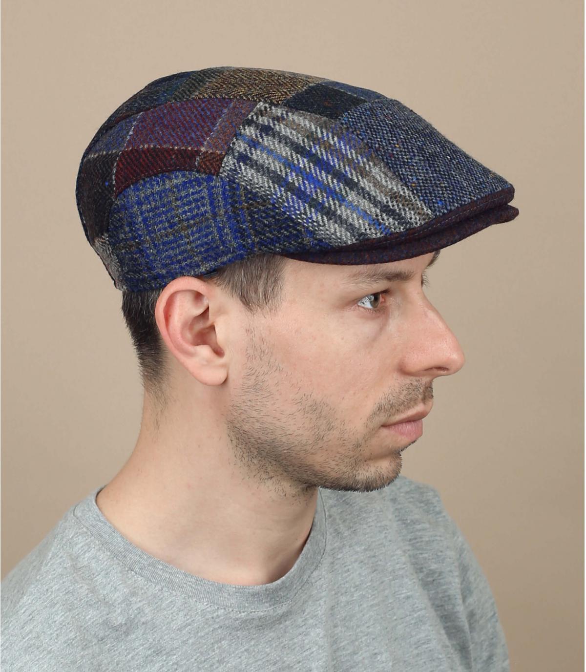 gorra patchwork lana azul
