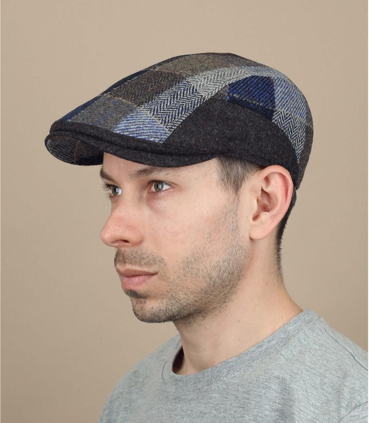gorra lana cuadros marrón