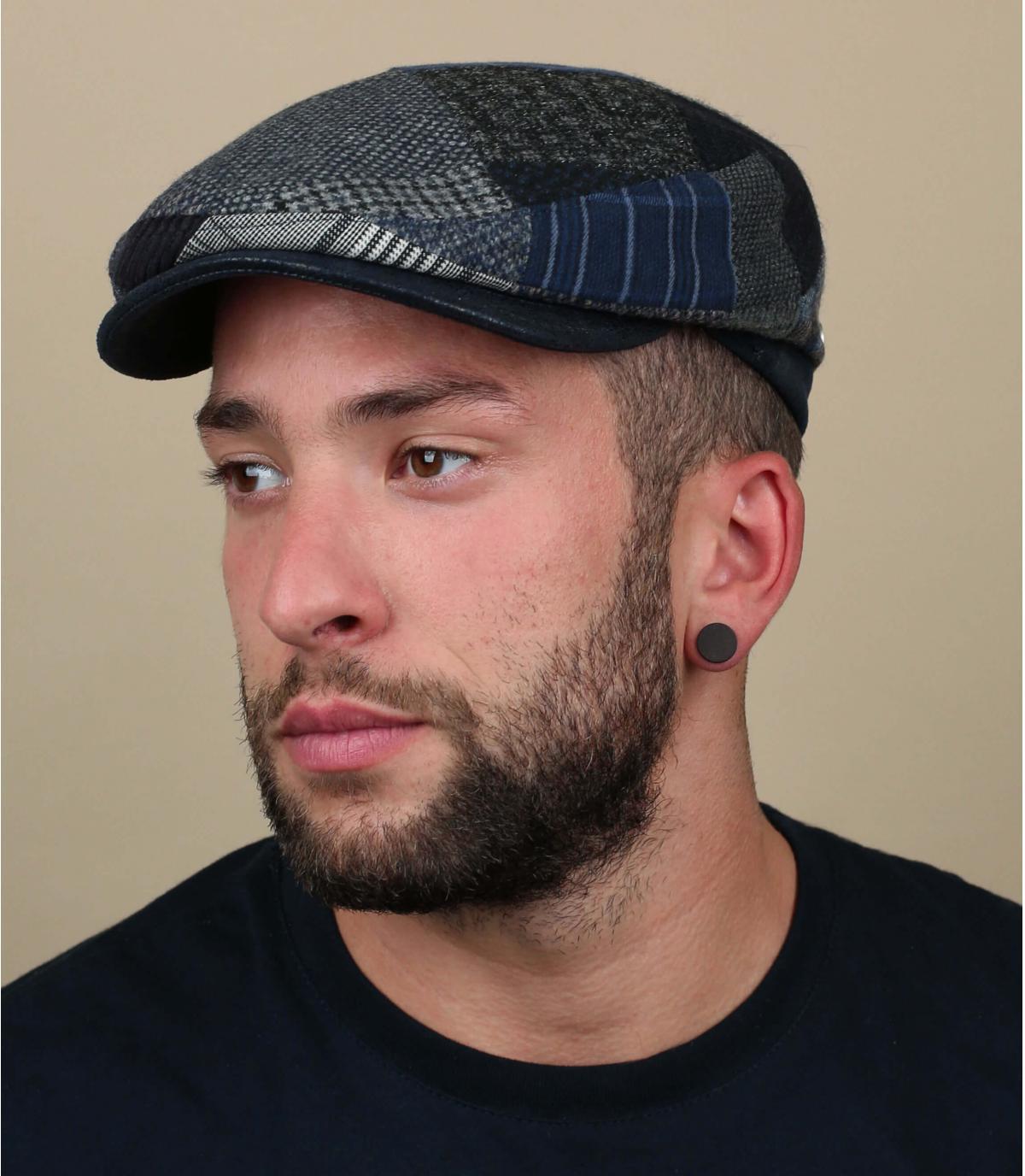 gorra gris azul lana