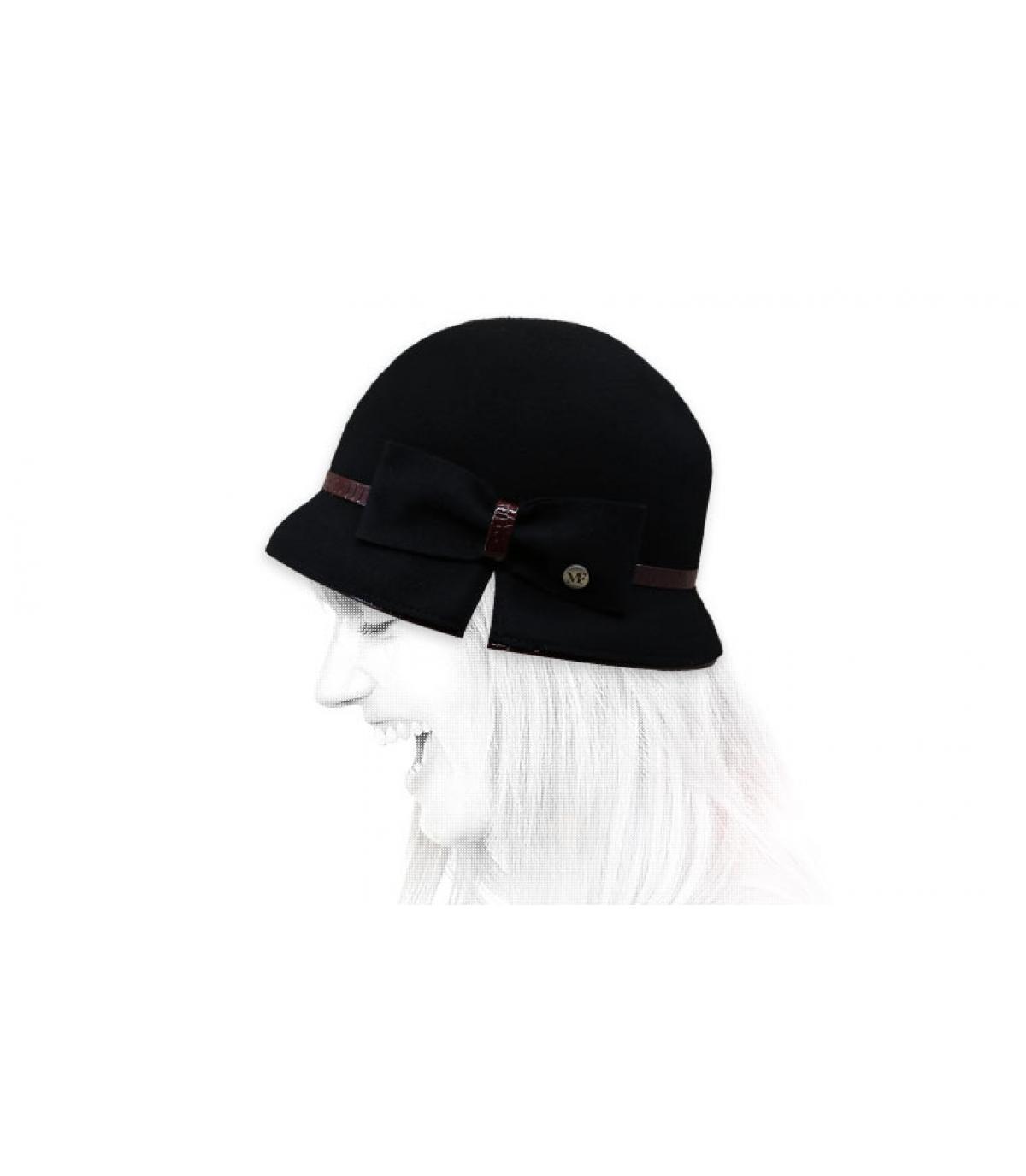 sombrero campana negro lazo