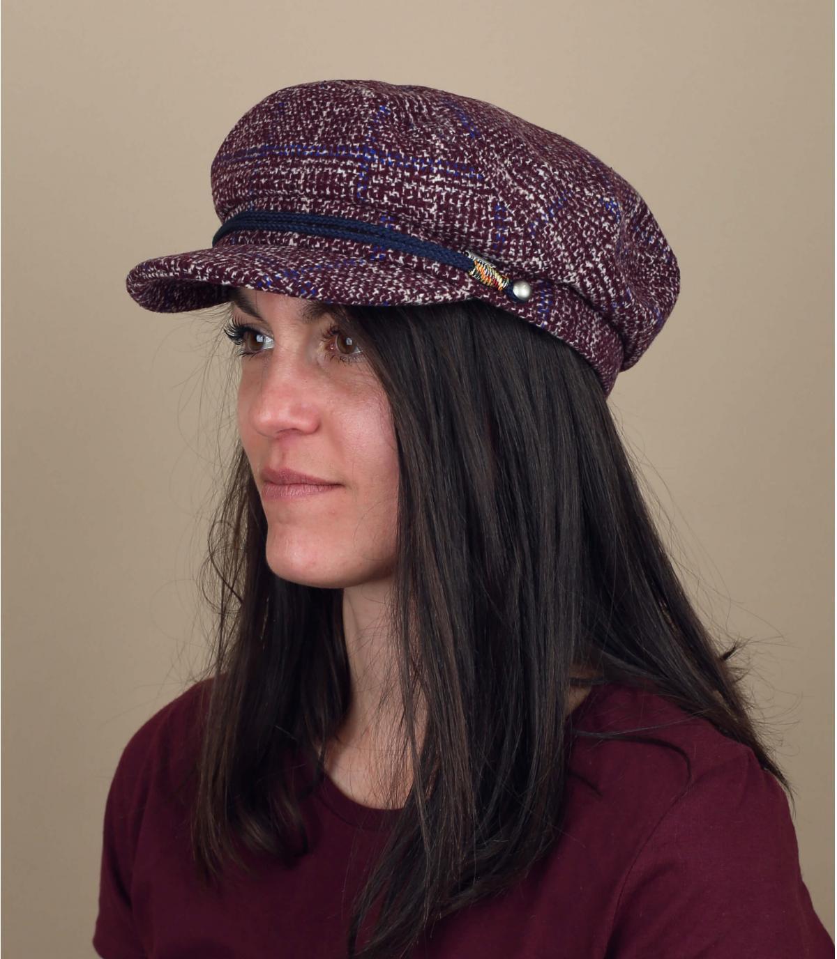 Gorra cuadros rosa mujer