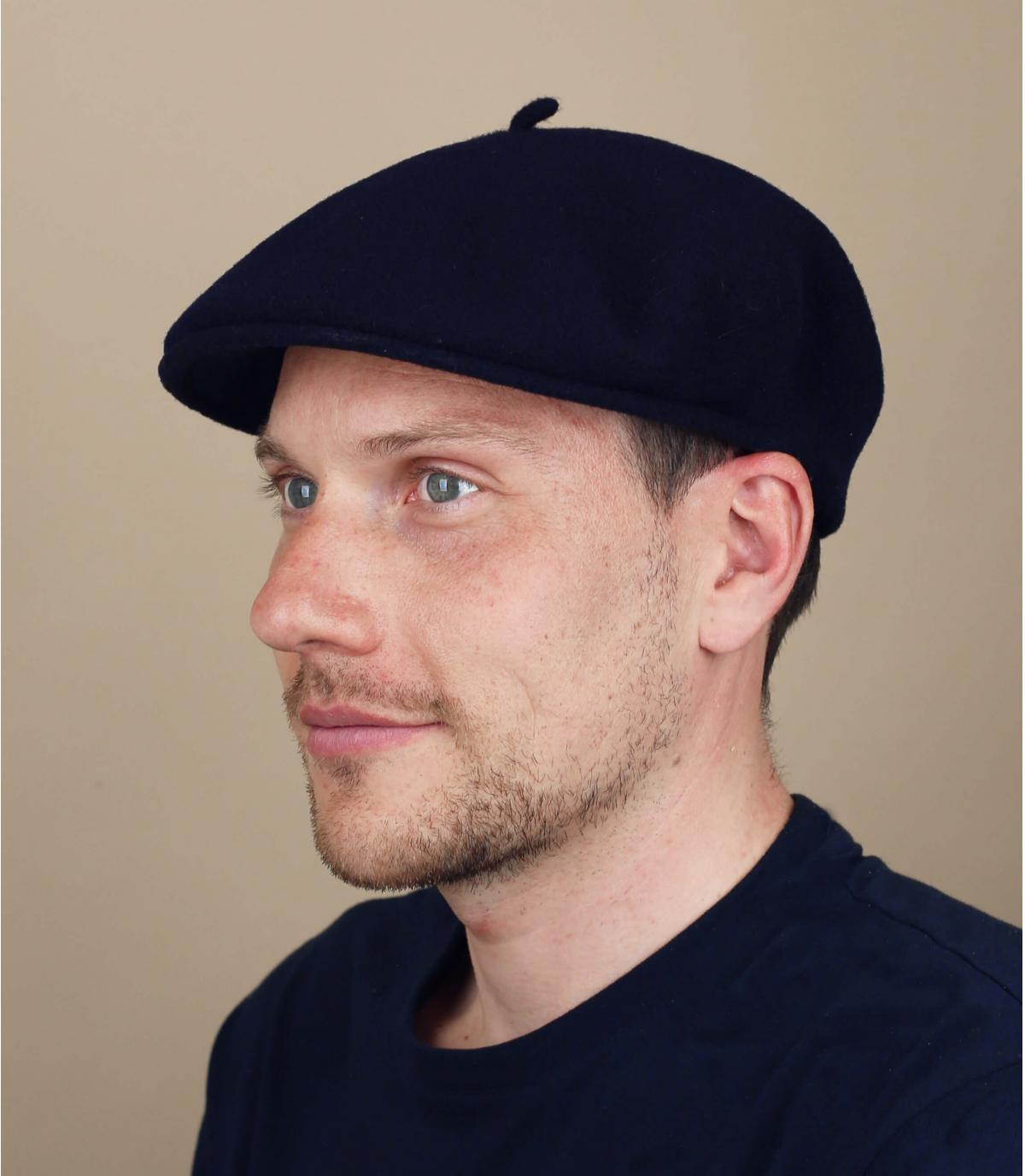 gorra azul lana merino