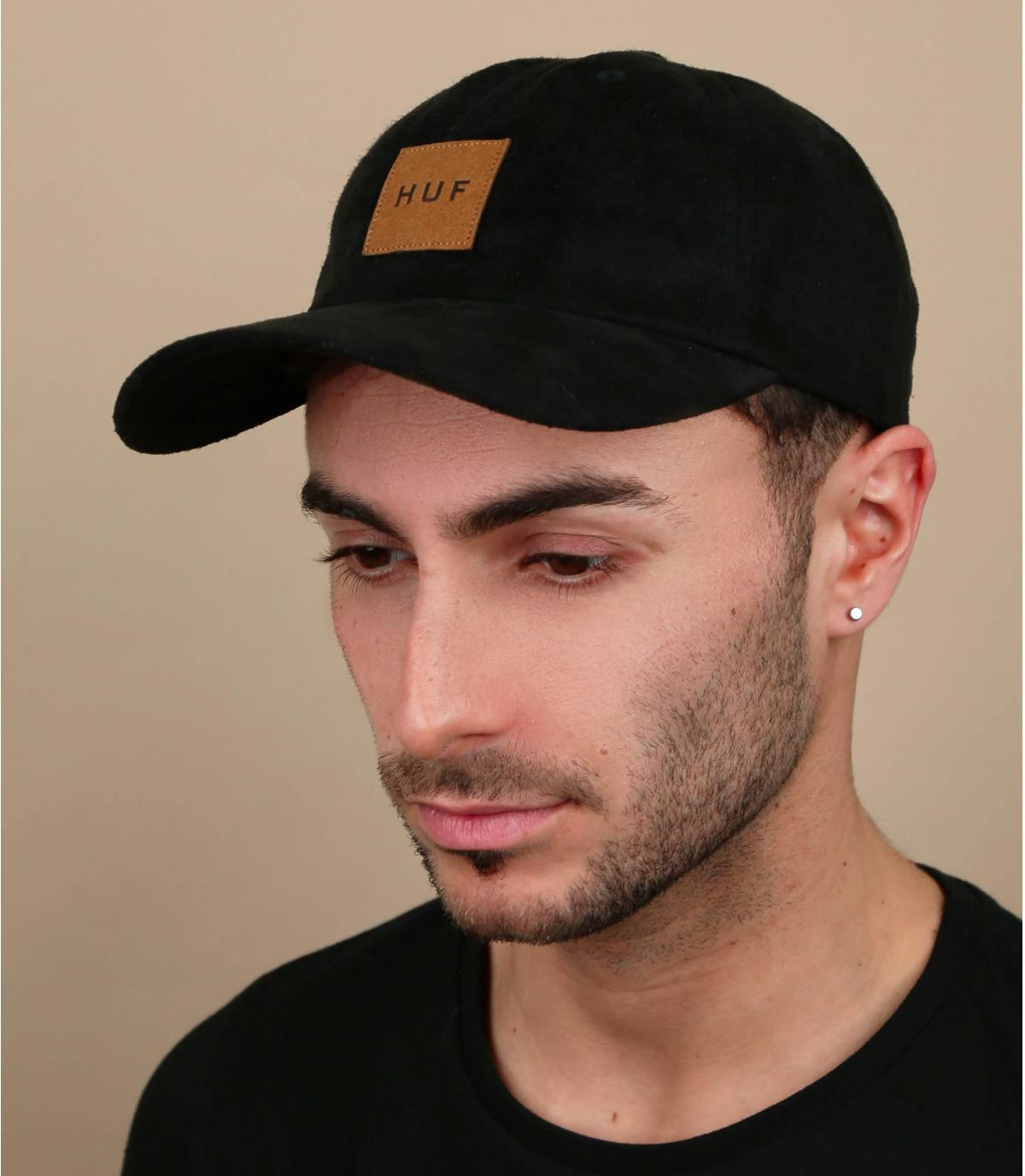 black Huf suede cap