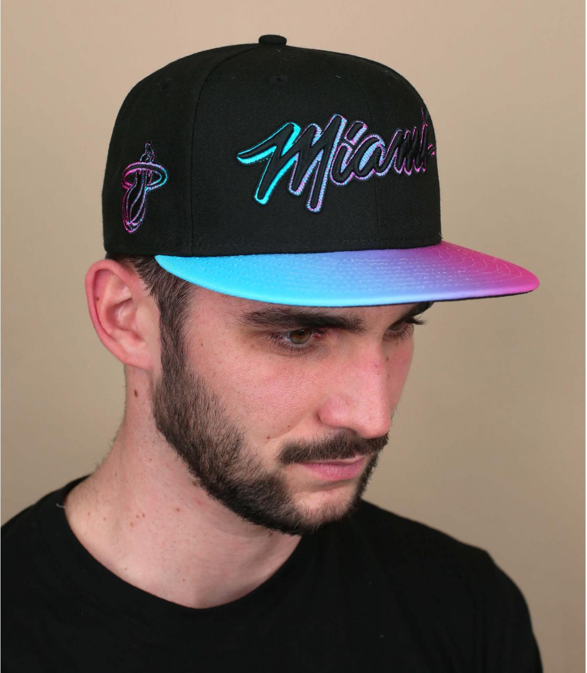 gorra Miami negro rosa
