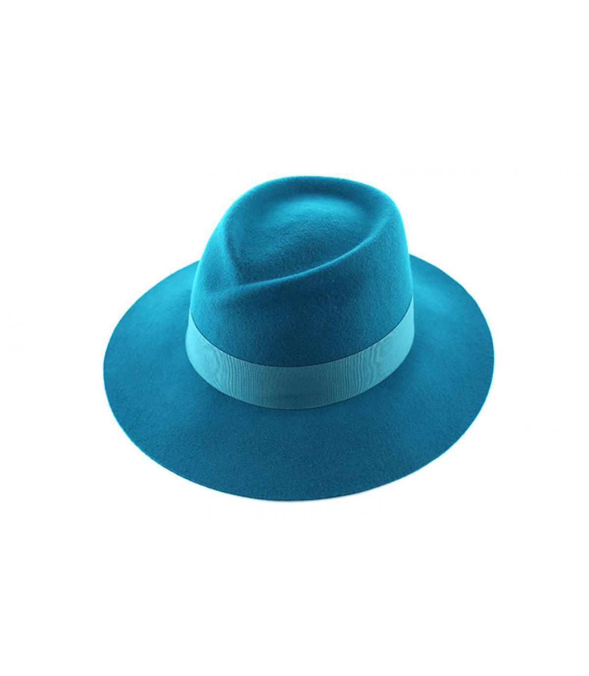Sombrero mujer fedora azul - Fedora petrol Seeberger imagen 1 ... a5d0e4ed8b33