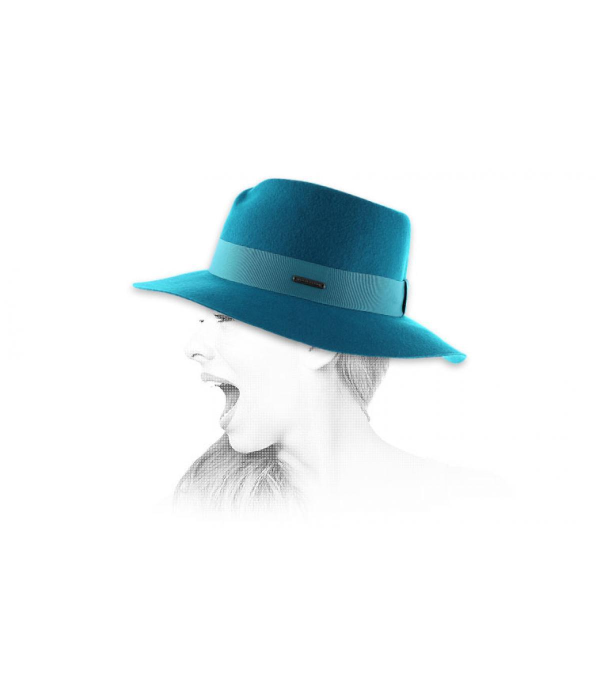 ... Sombrero mujer fedora azul - Fedora petrol Seeberger imagen 4 97649d7b2c27