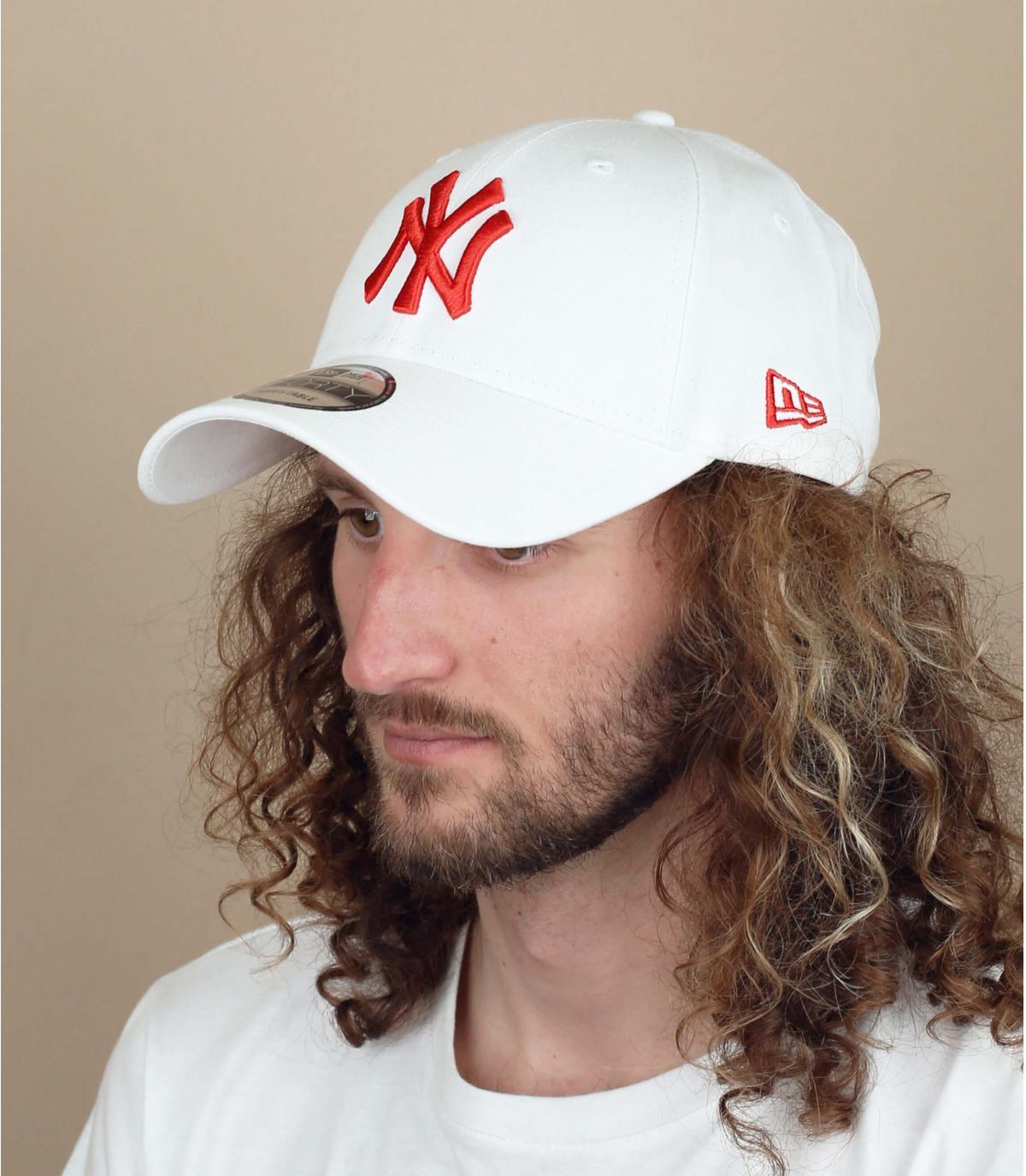 gorra NY blanco rojo