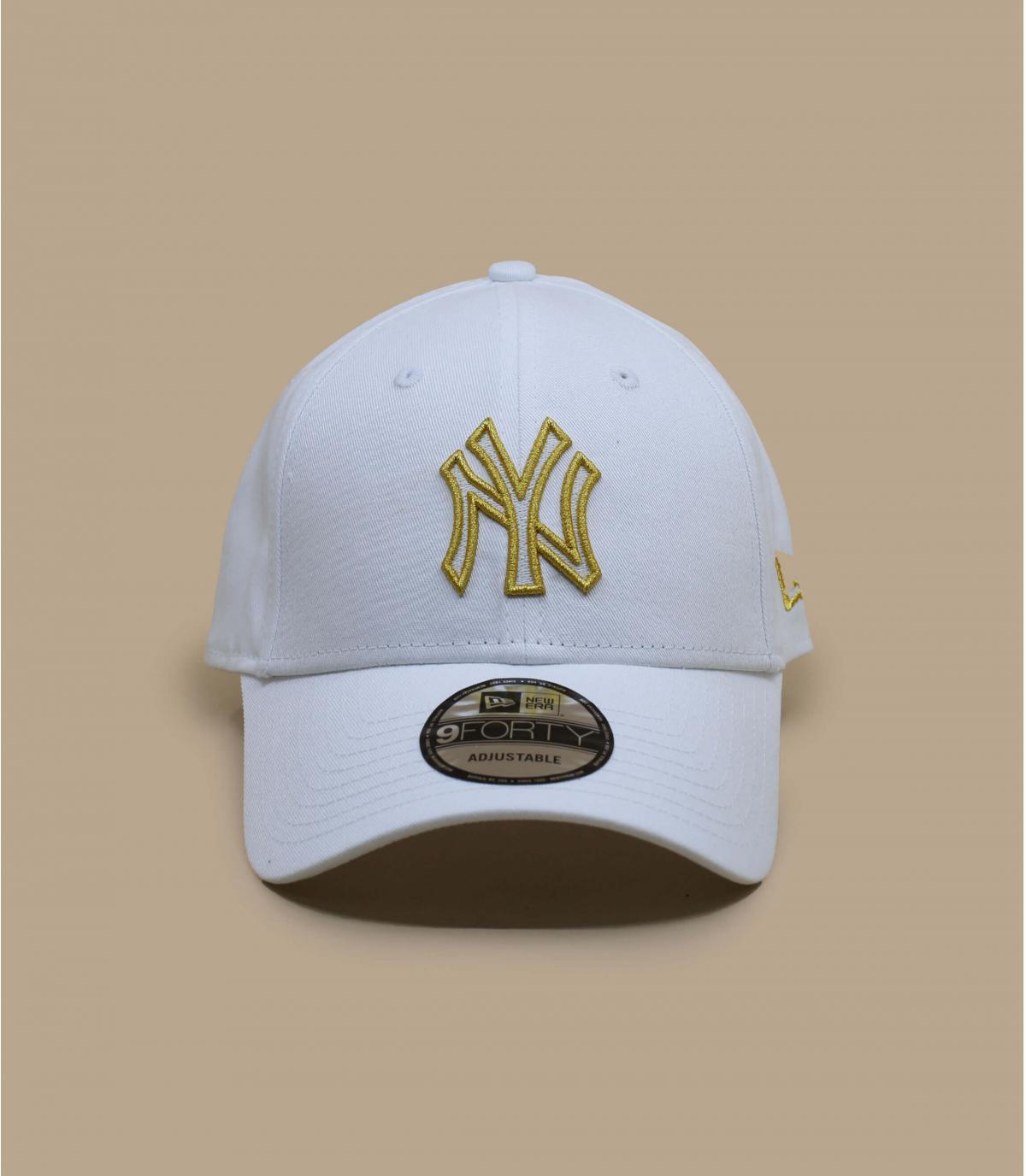 gorra NY blanco plata