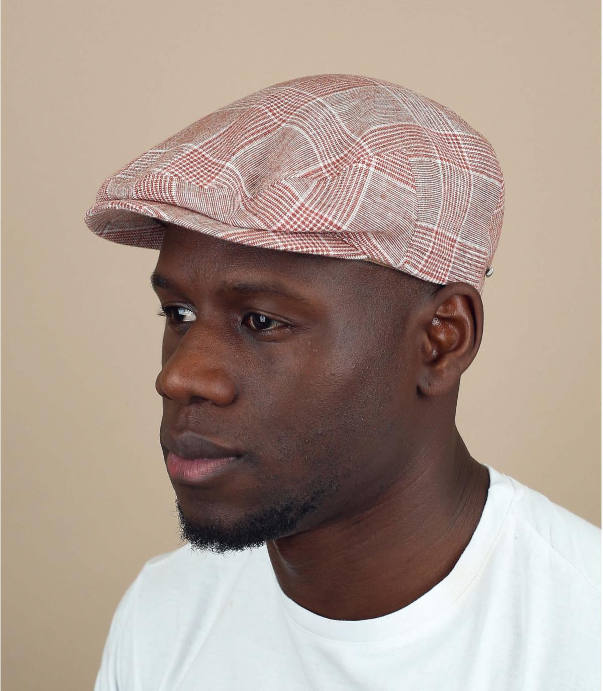 gorra lino cuadros rojo