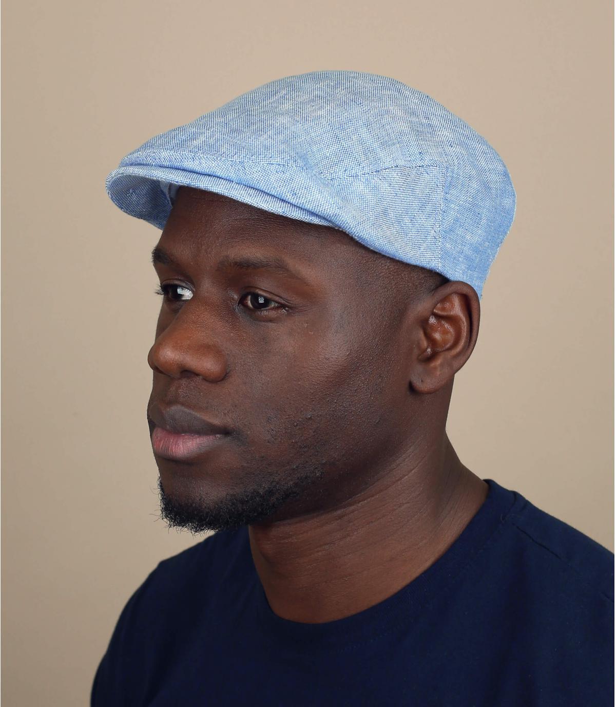 gorra lino azul claro