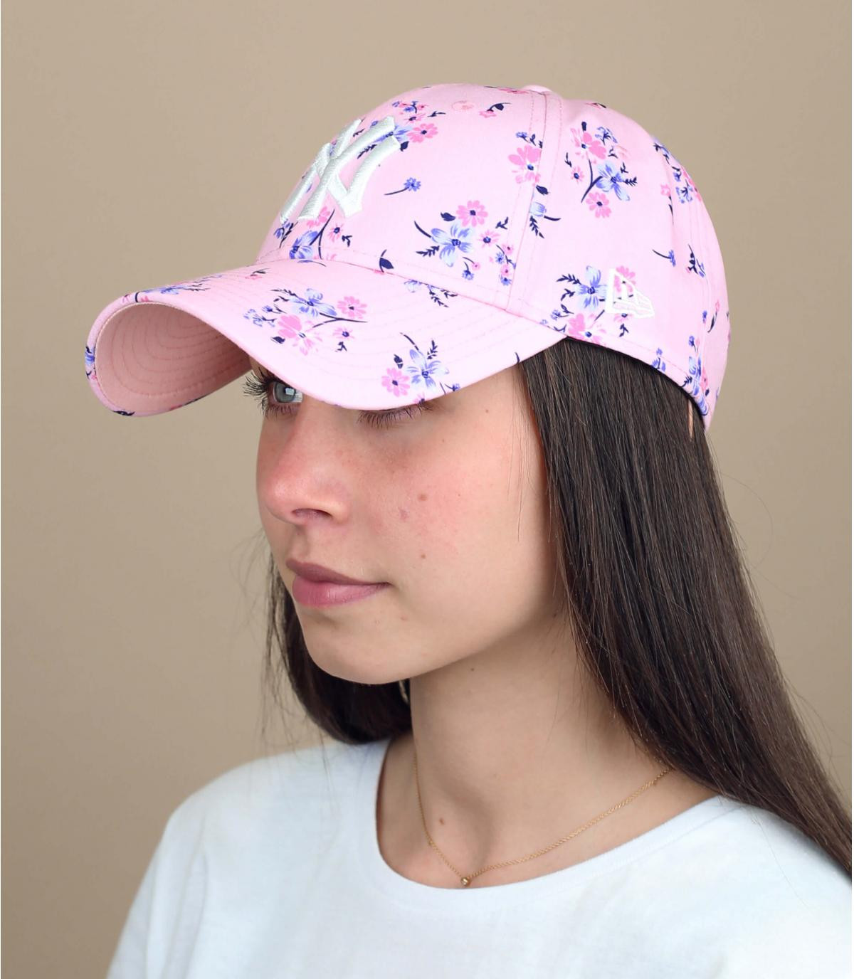 gorra mujer rosa flores