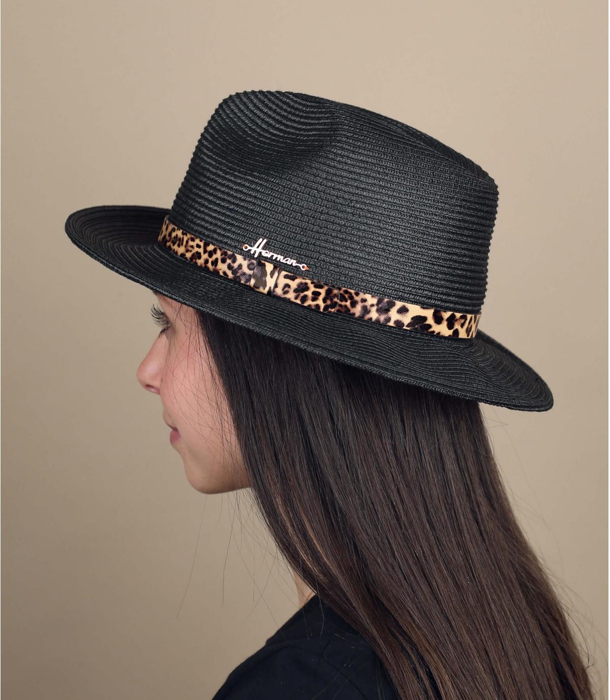 Sombrero negro paja pantera