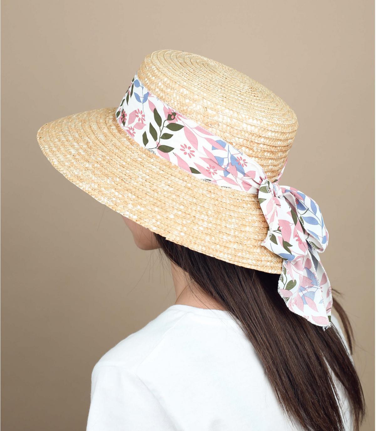 sombrero paja pañuelo rosa