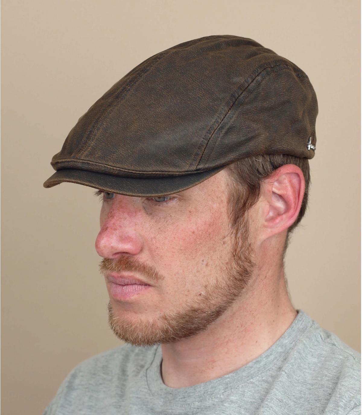 gorra algodón encerado marrón