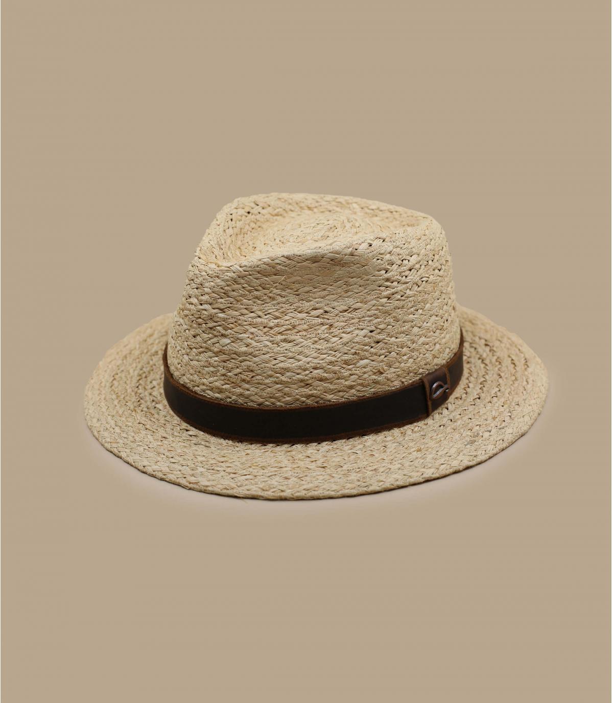 Sombrero rafia lazo cuero