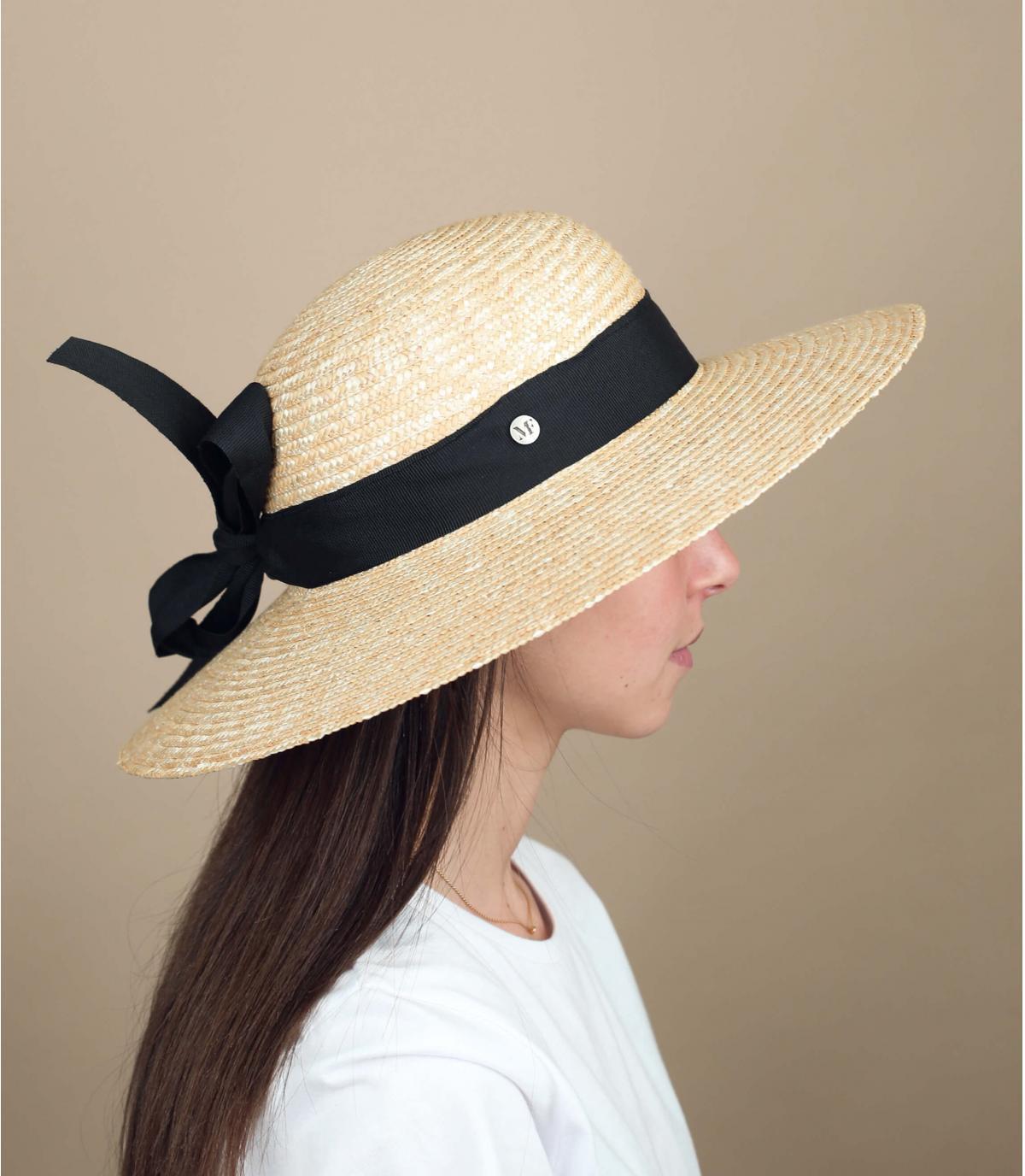sombrero negro mujer paja