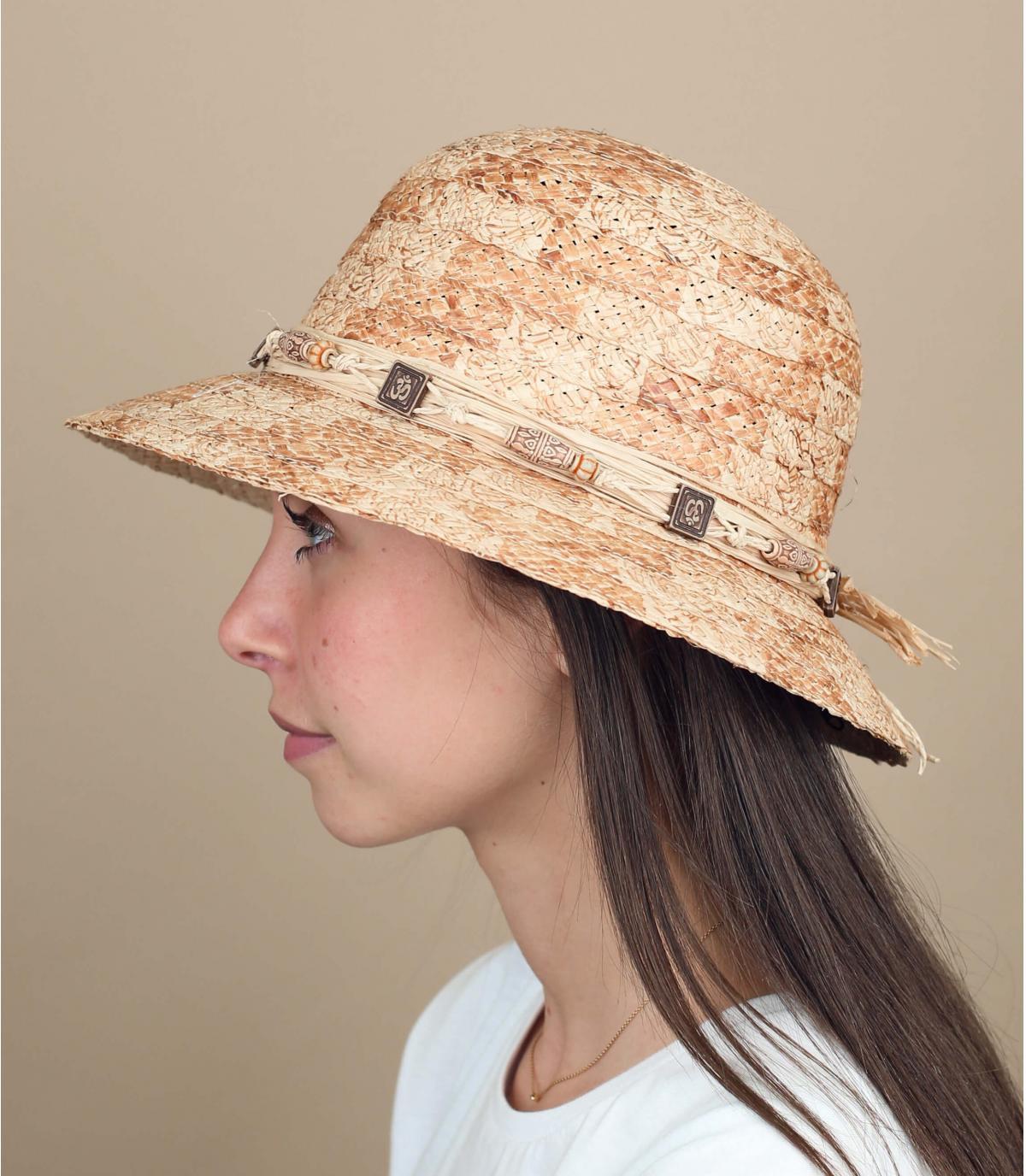 sombrero cloche paja perlas