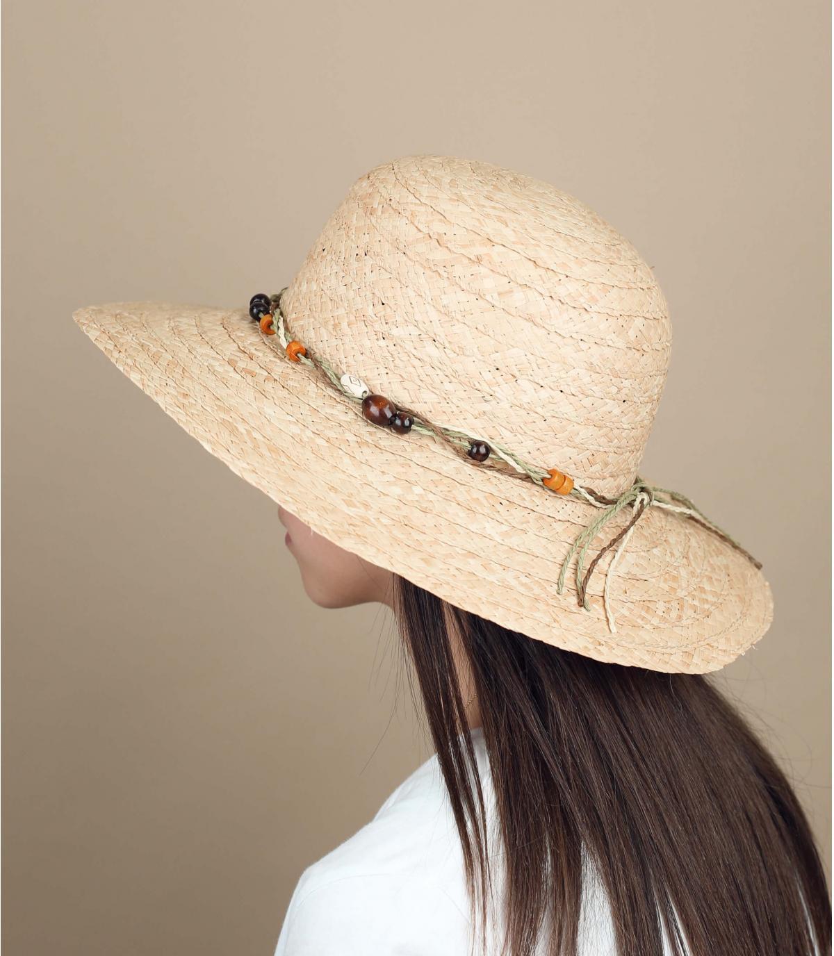sombrero paja perlas