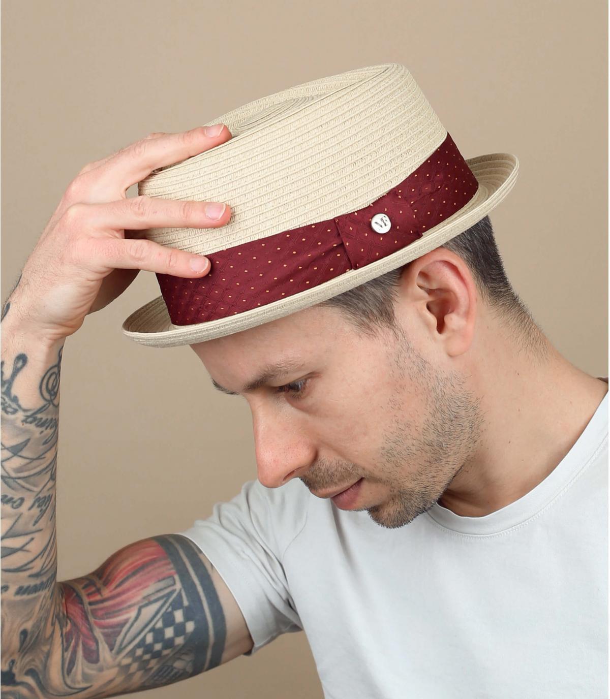 sombrero paja cinta lunares
