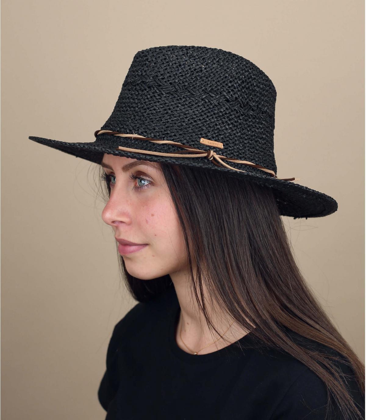 Sombrero paja negro Barts