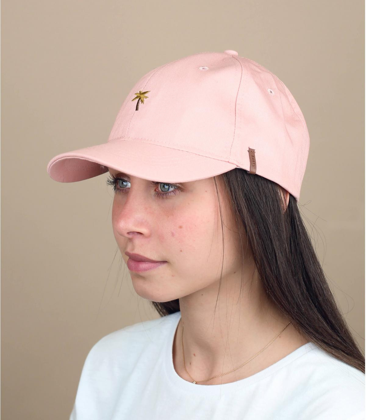 Gorra rosa bordado palmera