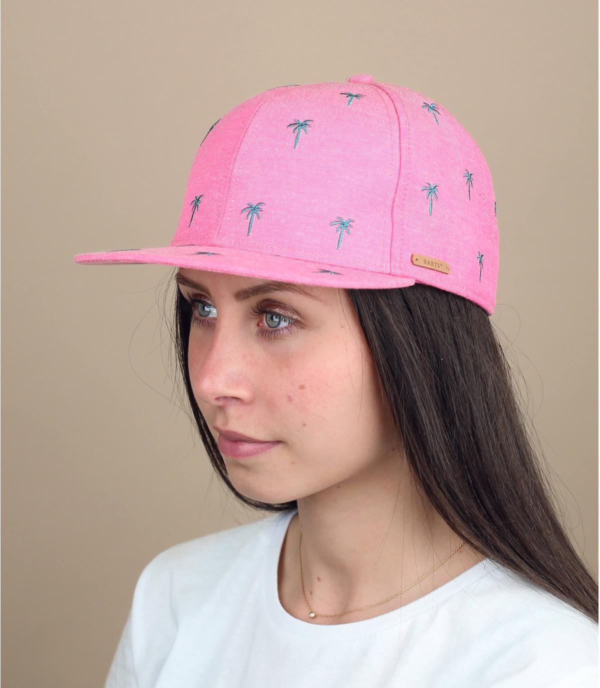 Gorra niña rosa palmeras.