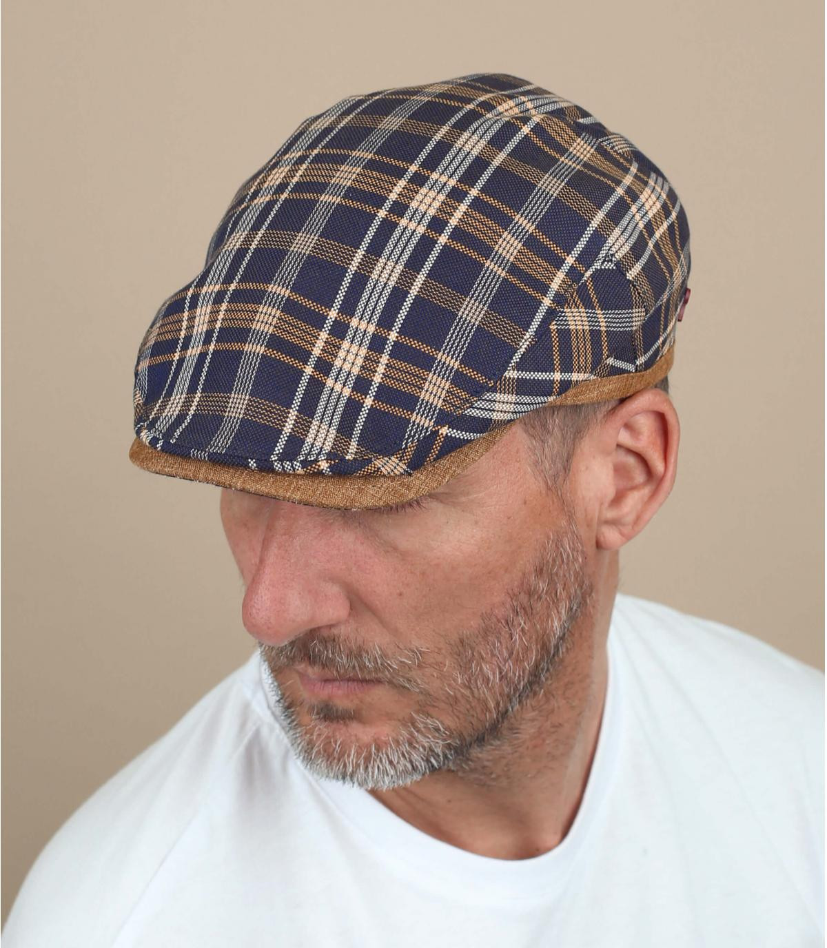 gorra cuadros lino