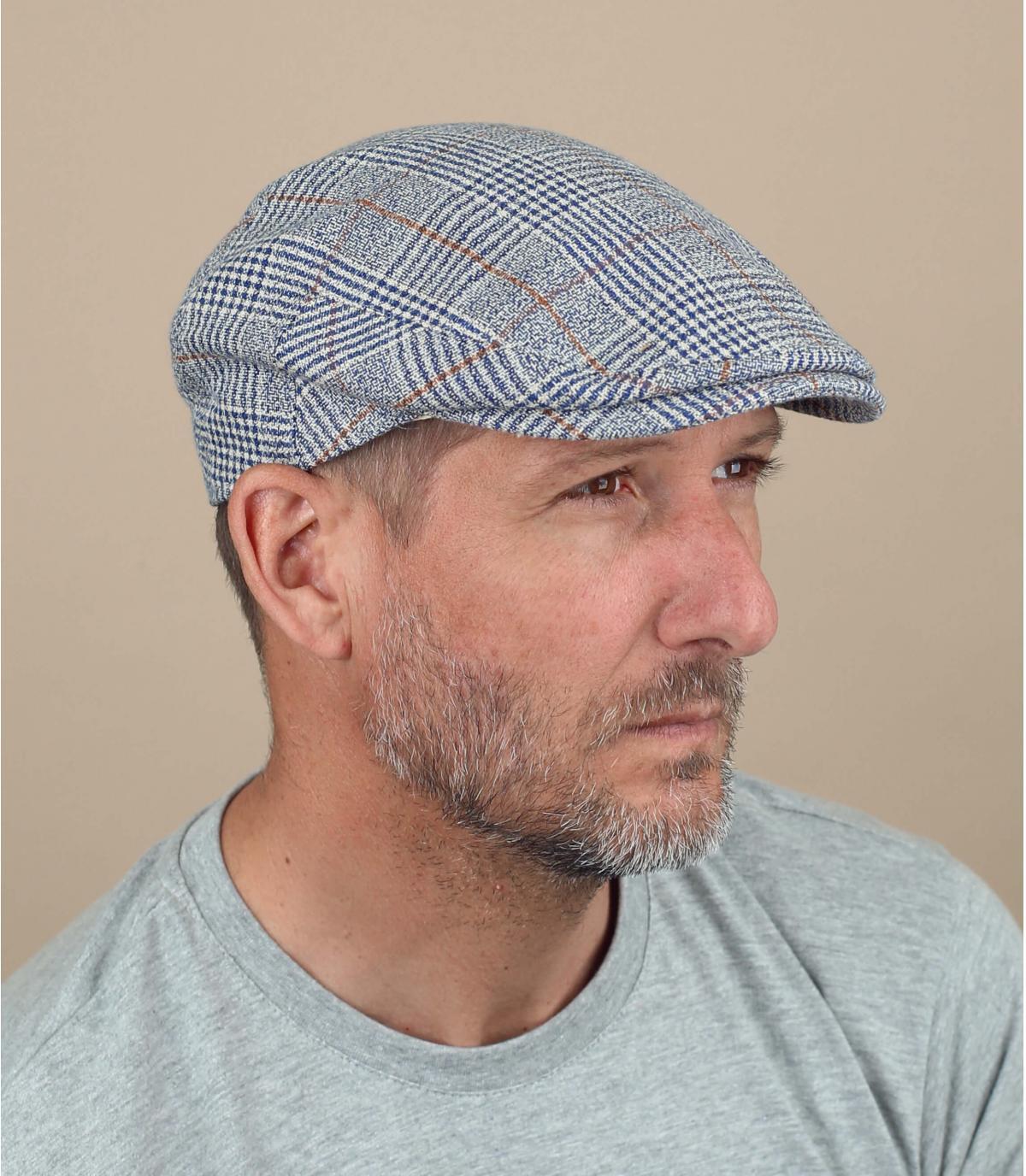 gorra gris lino cuadros