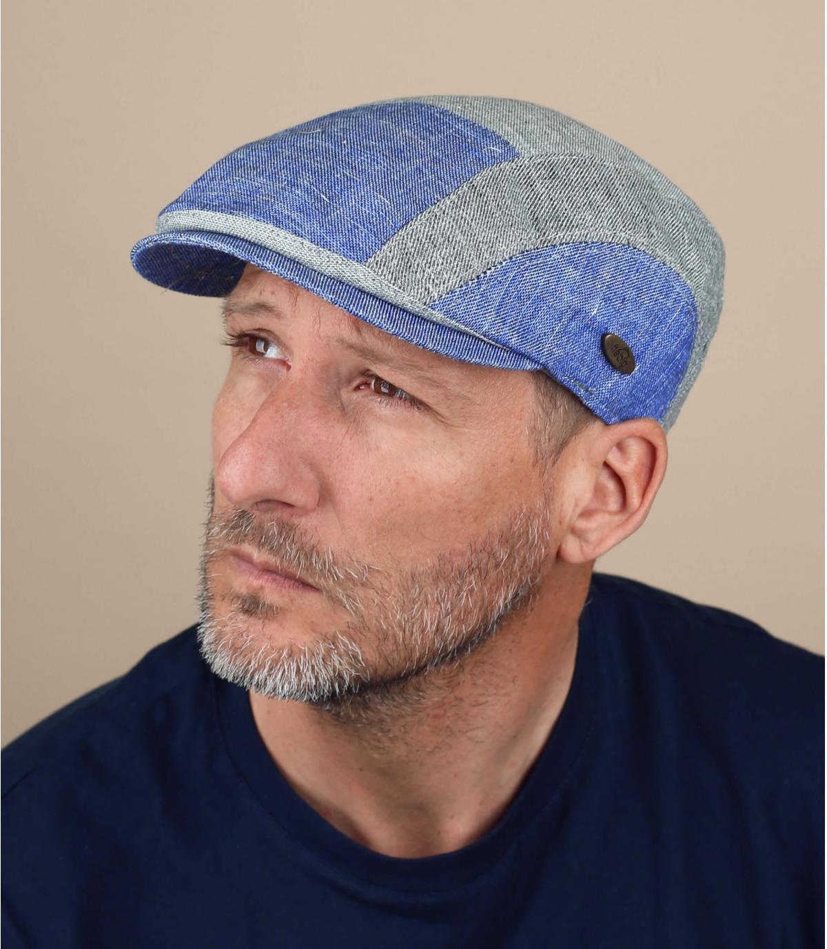gorra patchwork azul gris