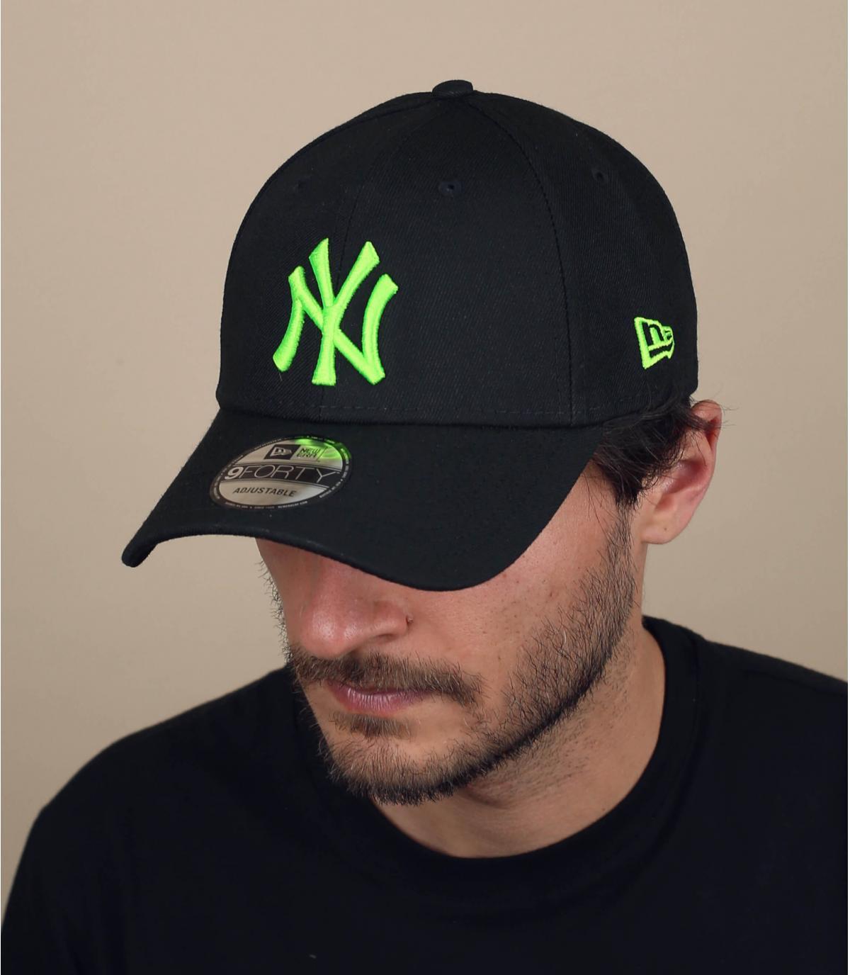 gorra NY negro verde neón