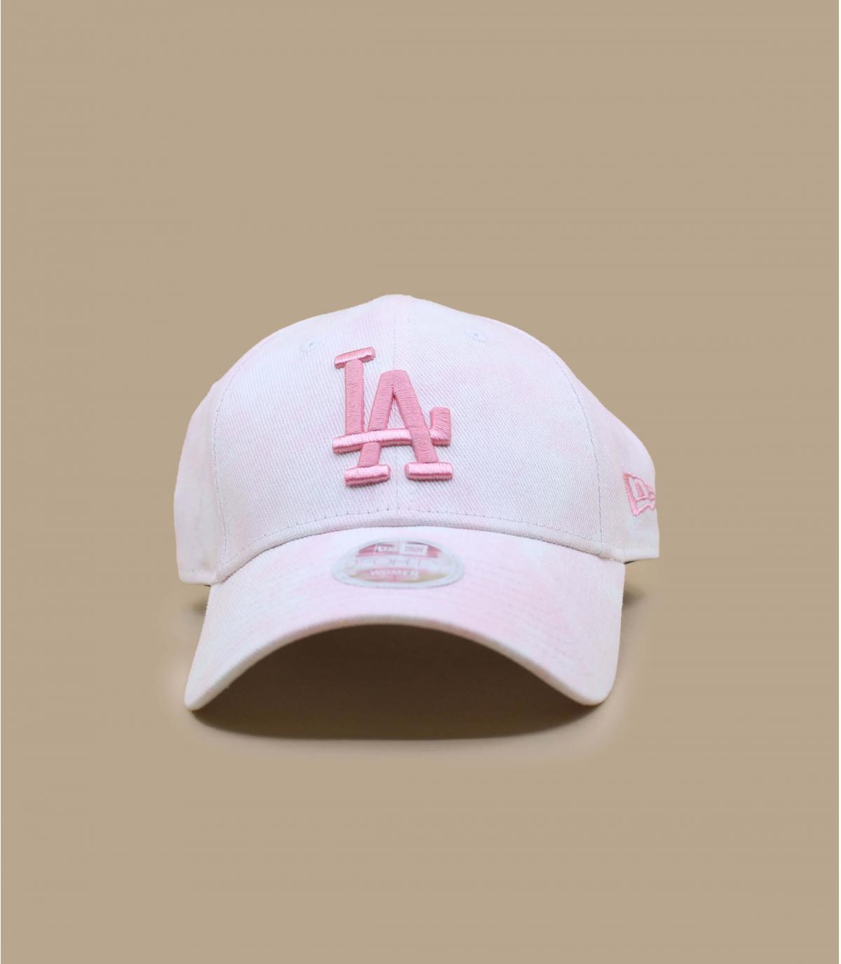 gorra LA blanco rosa