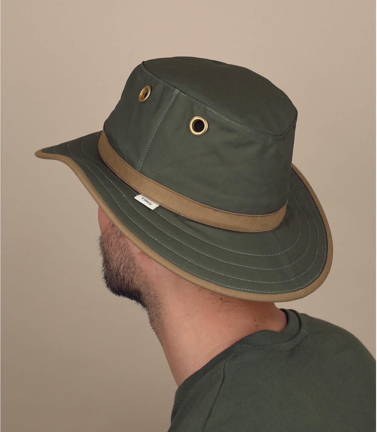Sombrero algodón encerado verde