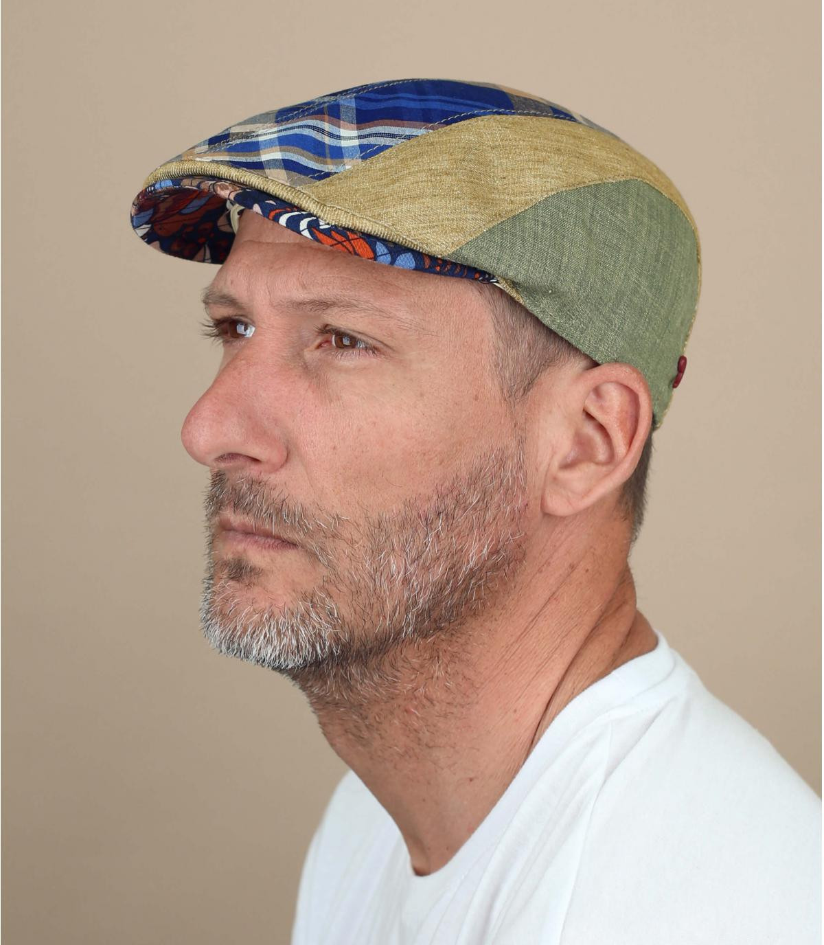 Gorra lino azul beige