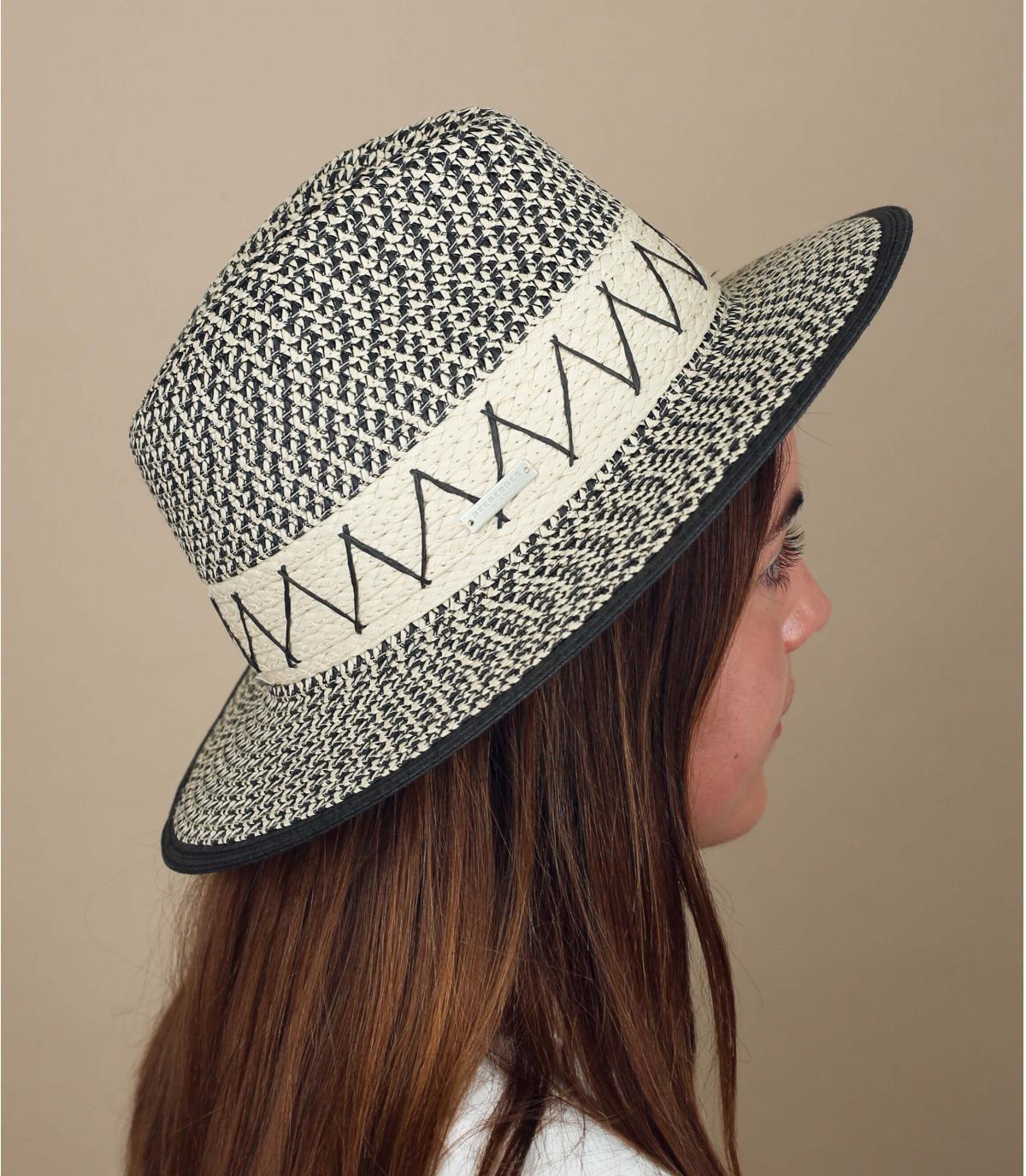 Sombrero paja negro blanco