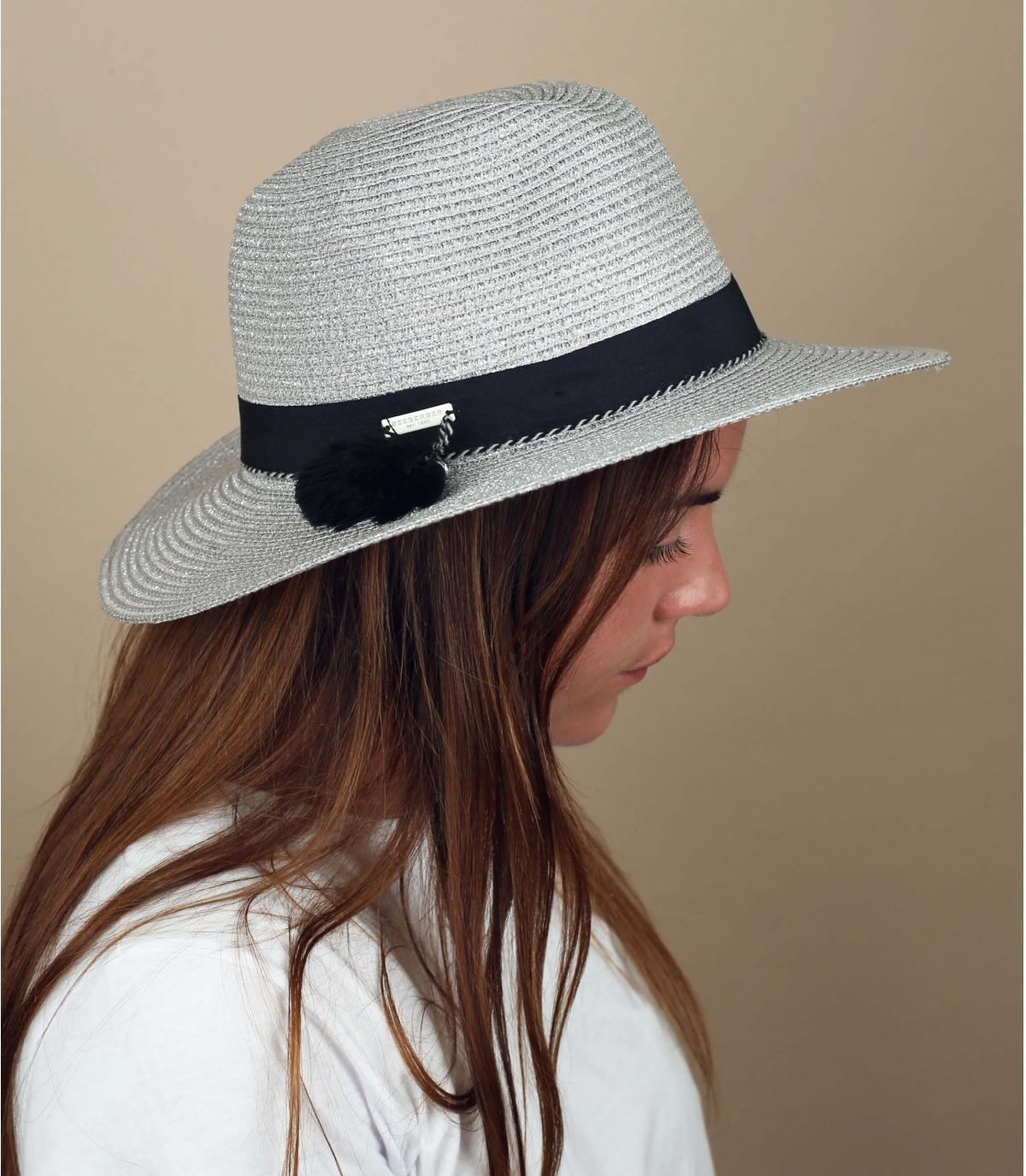 sombrero paja plata