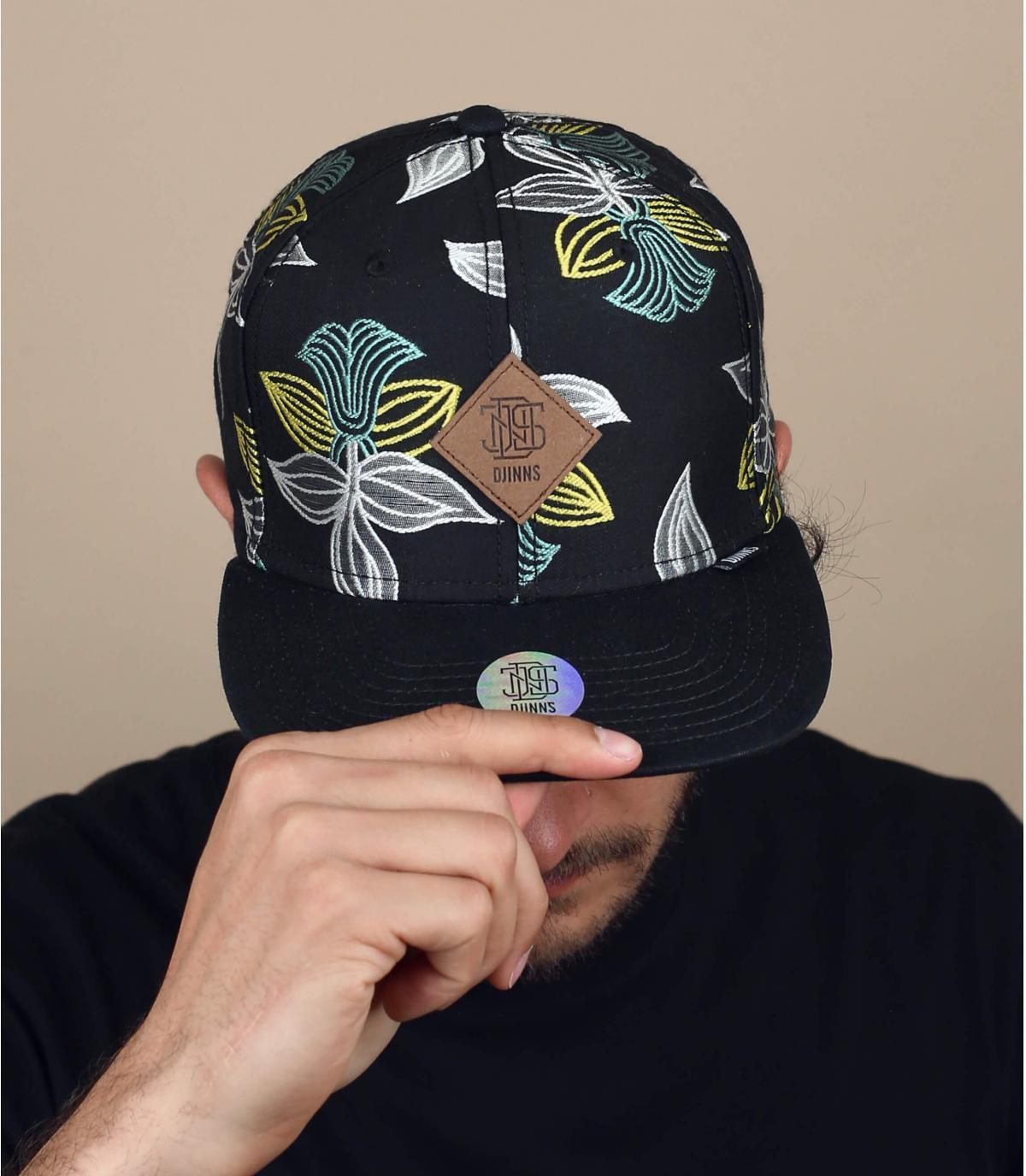 Gorra negra flores Djinns