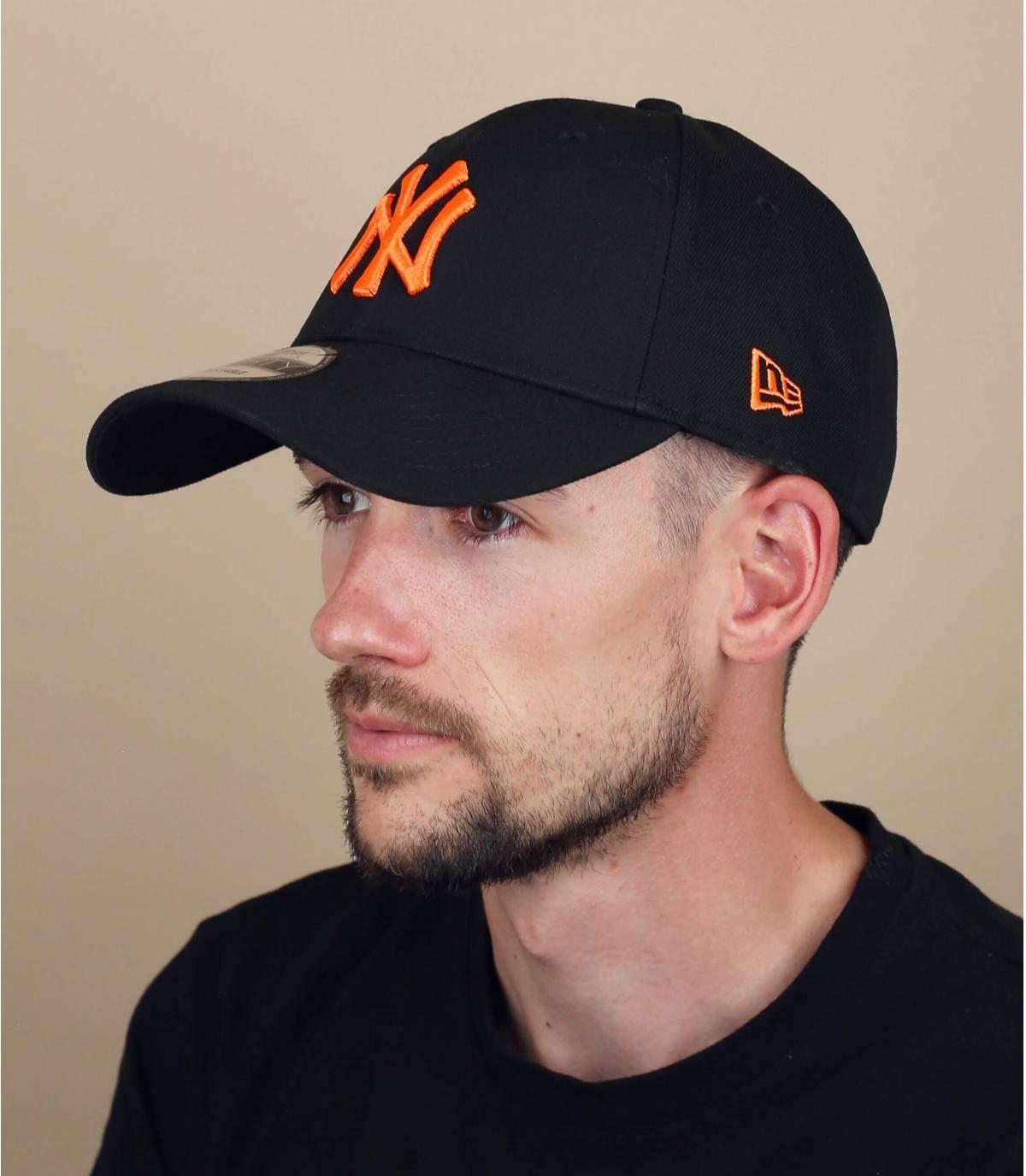 Gorra NY negro naranja