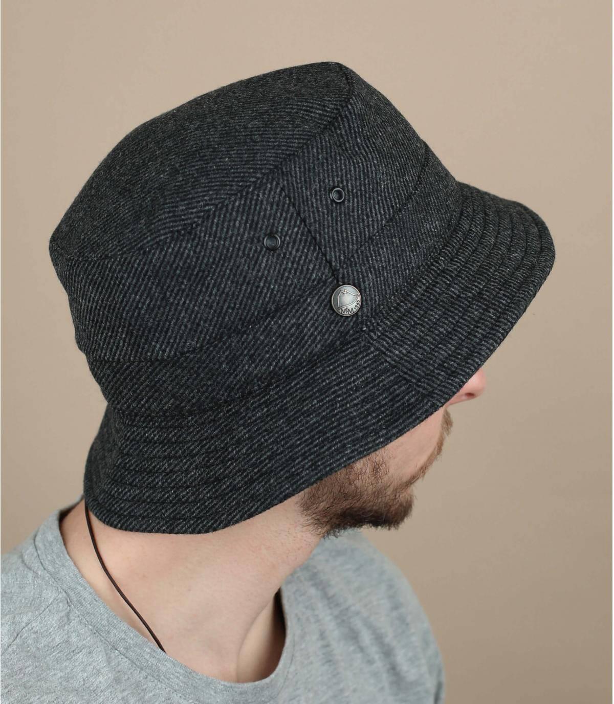 sombrero de pescador lana reciclada gris