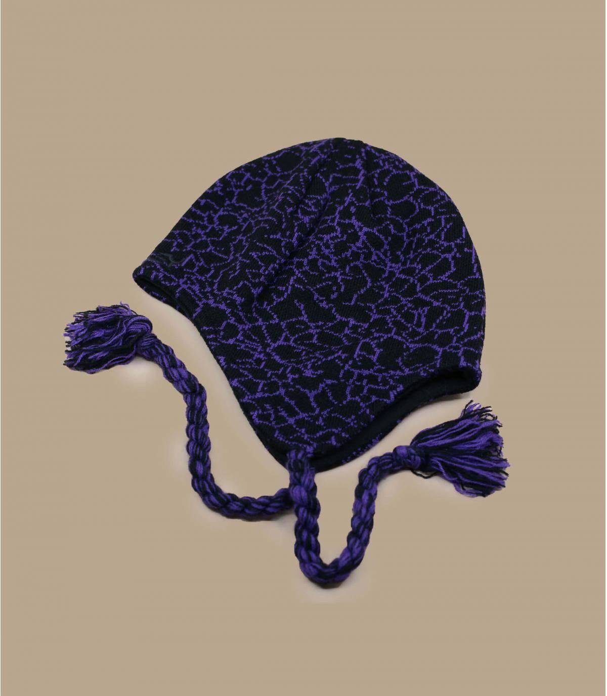 Detalles Flaps Beanie deep violet crackle black imagen 2