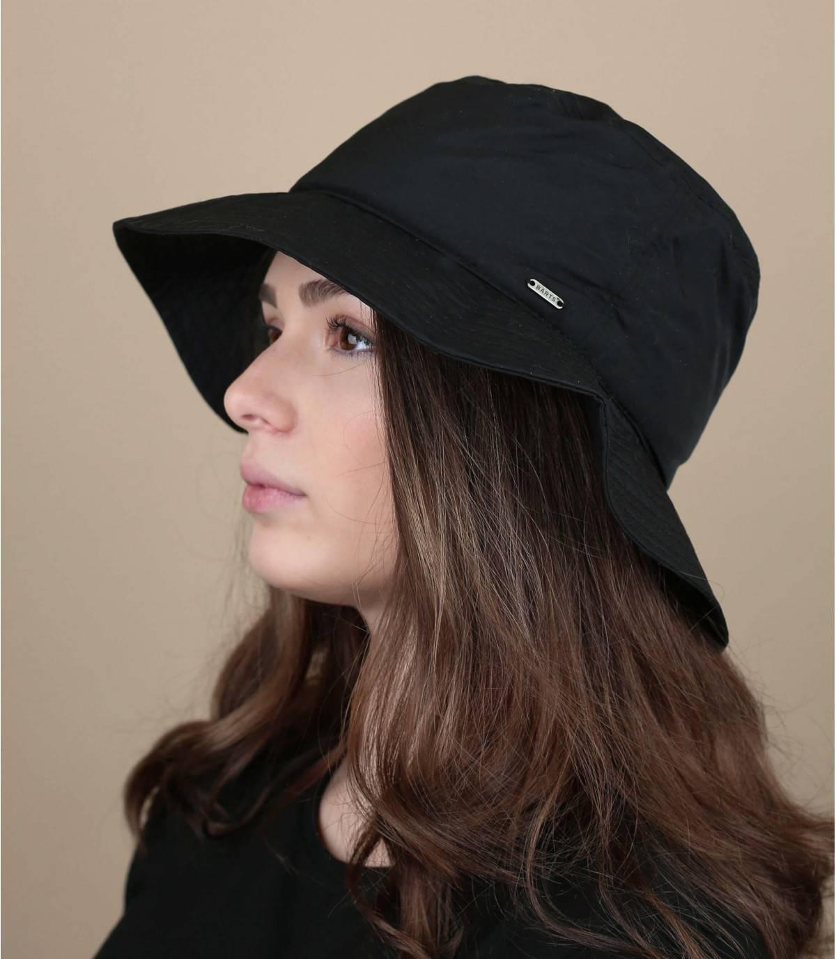 Sombrero pescador negro repelente al agua