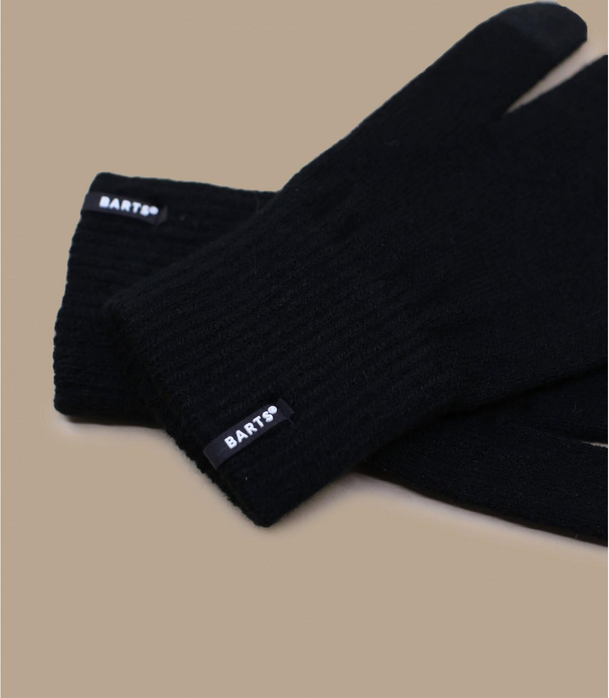 Detalles Fine knitted touch gloves black imagen 2