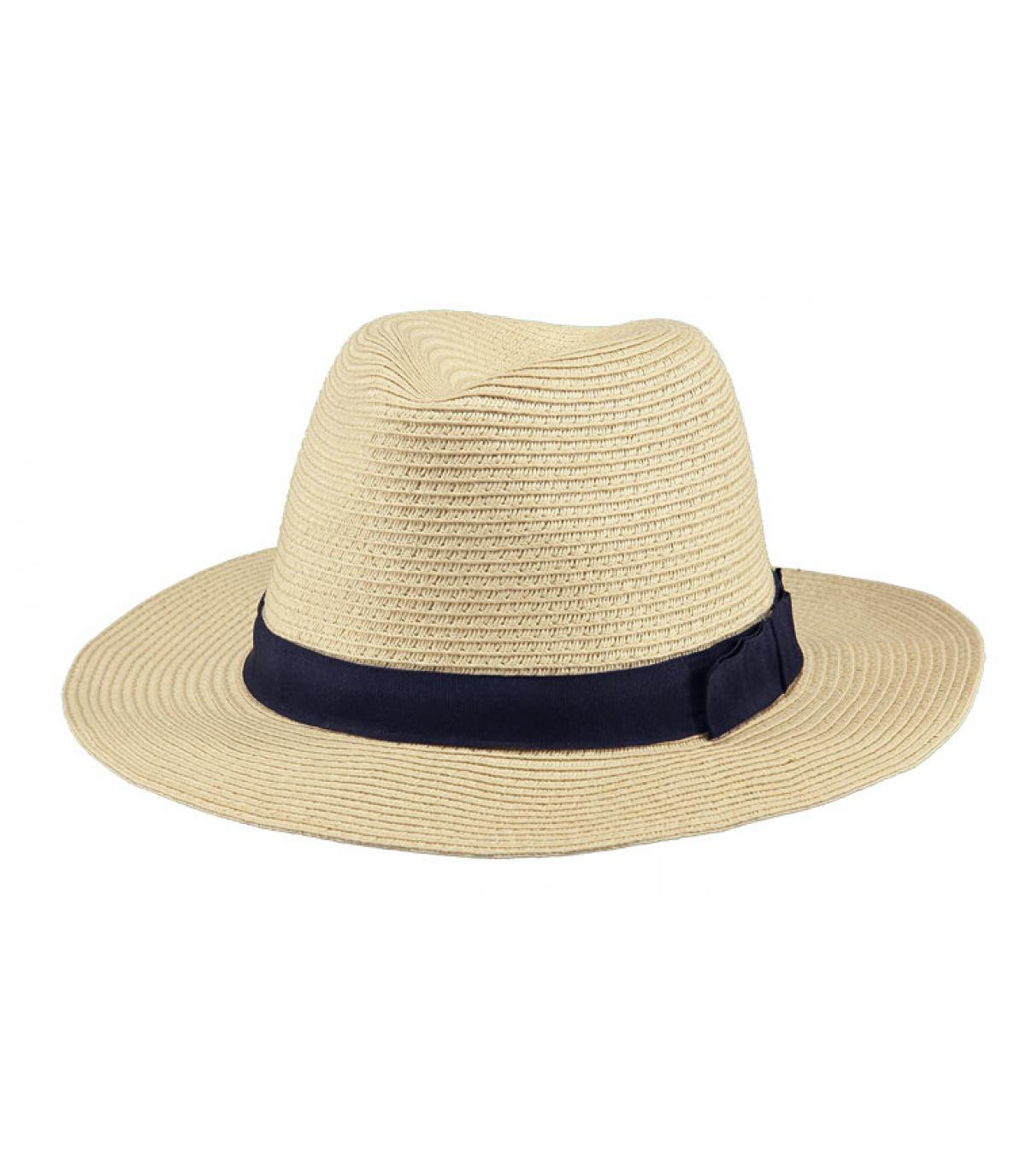 Sombrero paja beige cinta azul