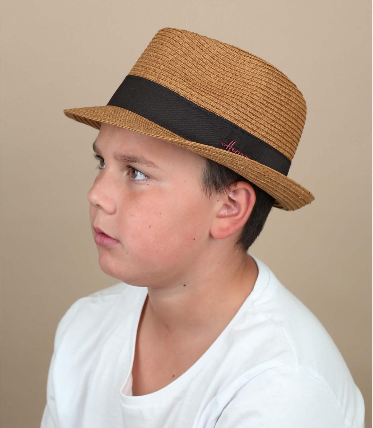 sombrero paja niño marrón