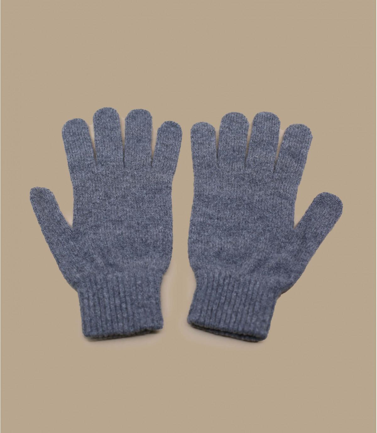 guantes gris jaspeado lana