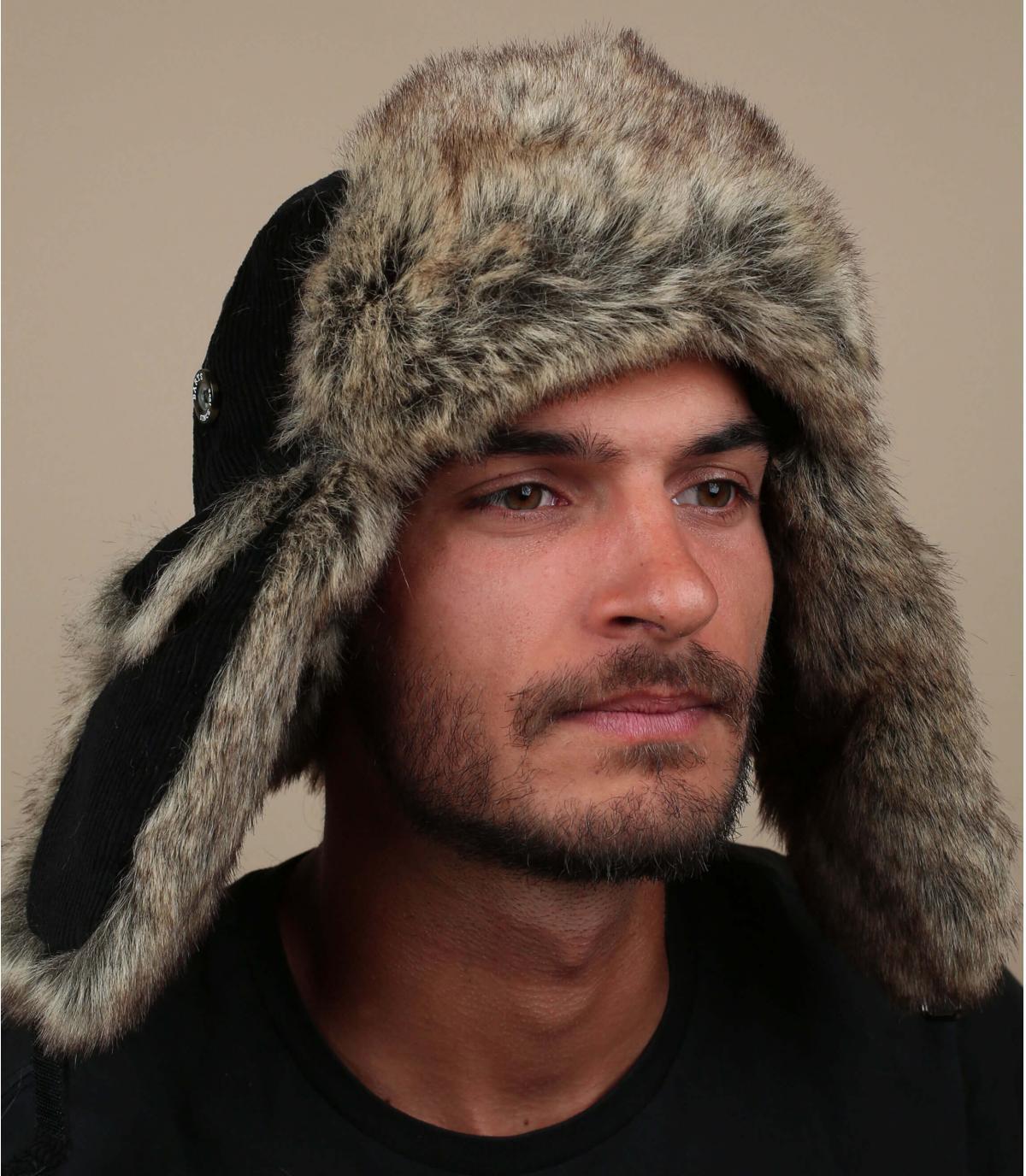 Gorro ruso corduroy negro